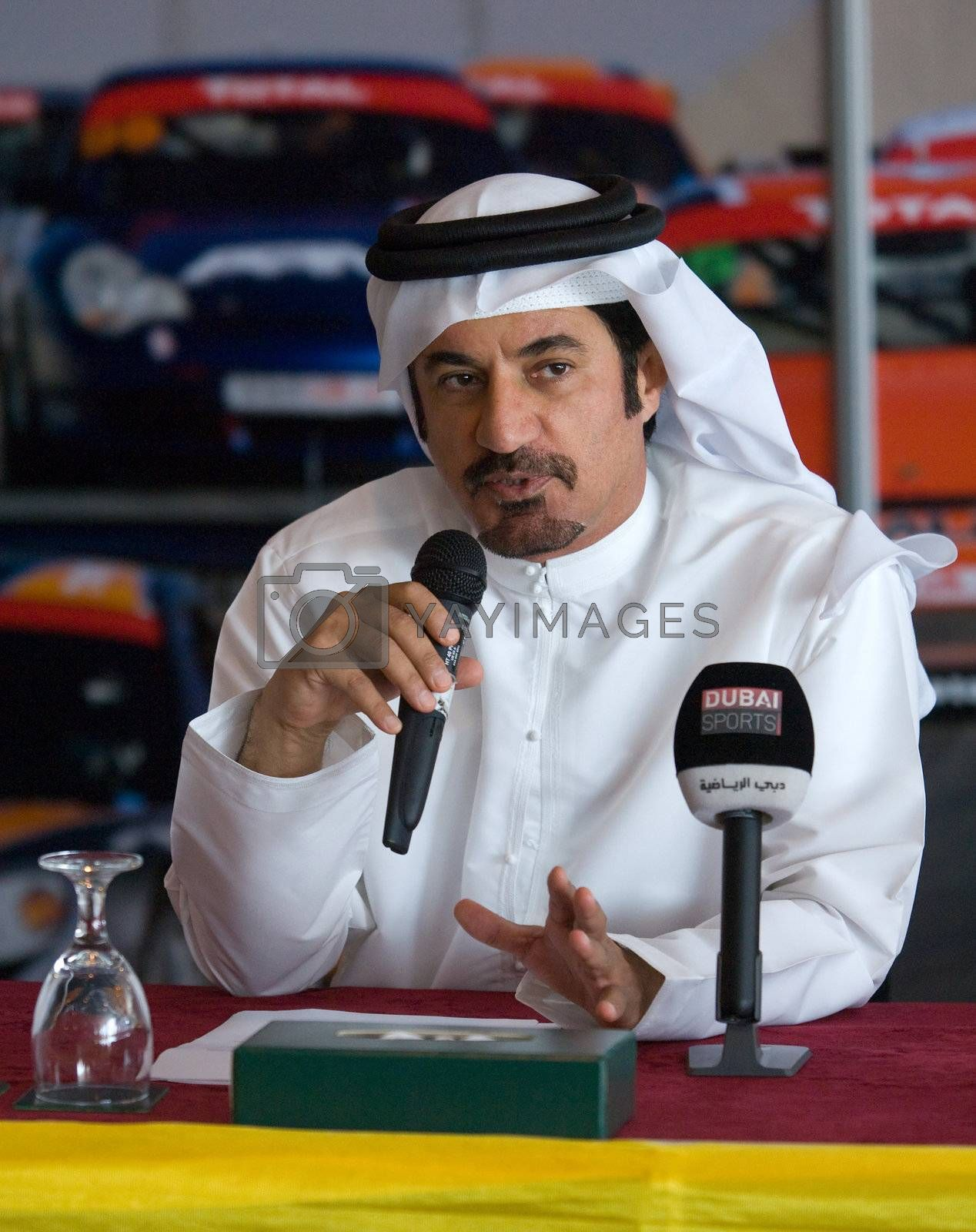 DUBAI - JANUARY 13: Mohammed Bin Sulayem, Vice-President for Sport of FIA, speaking at the press conference for the 2012 Dunlop 24 Hour Race at Dubai Autodrome on January 13, 2012.