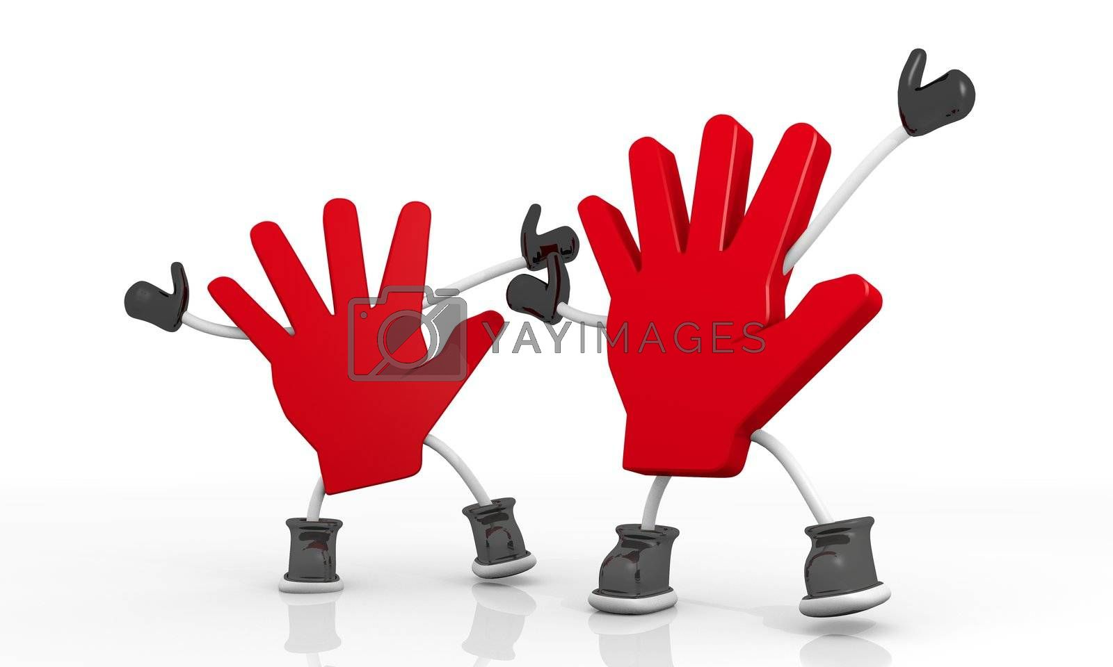 3D graphic Candy red attention hand symbol in a stylish background