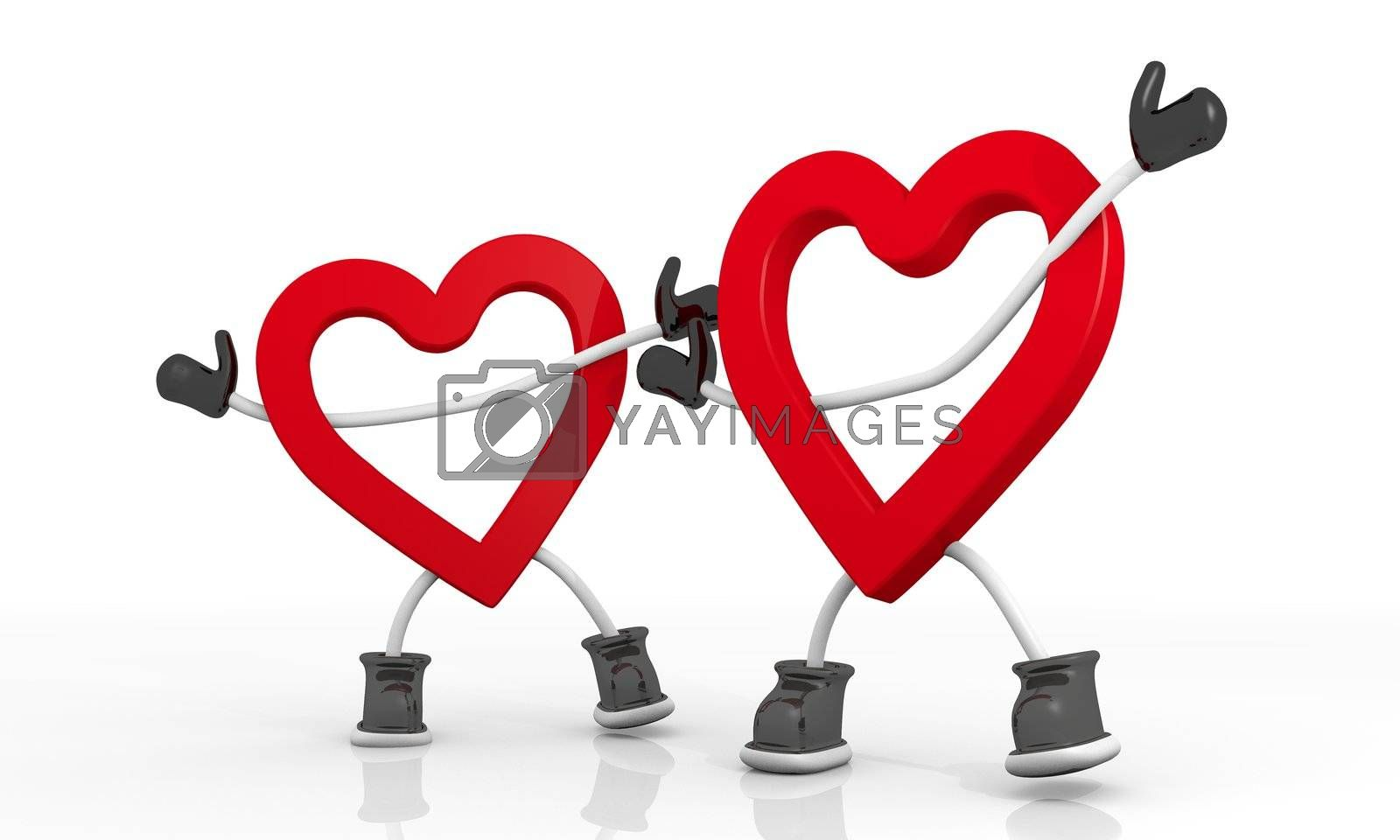 3D graphic  Candy red heart symbol in a stylish white background