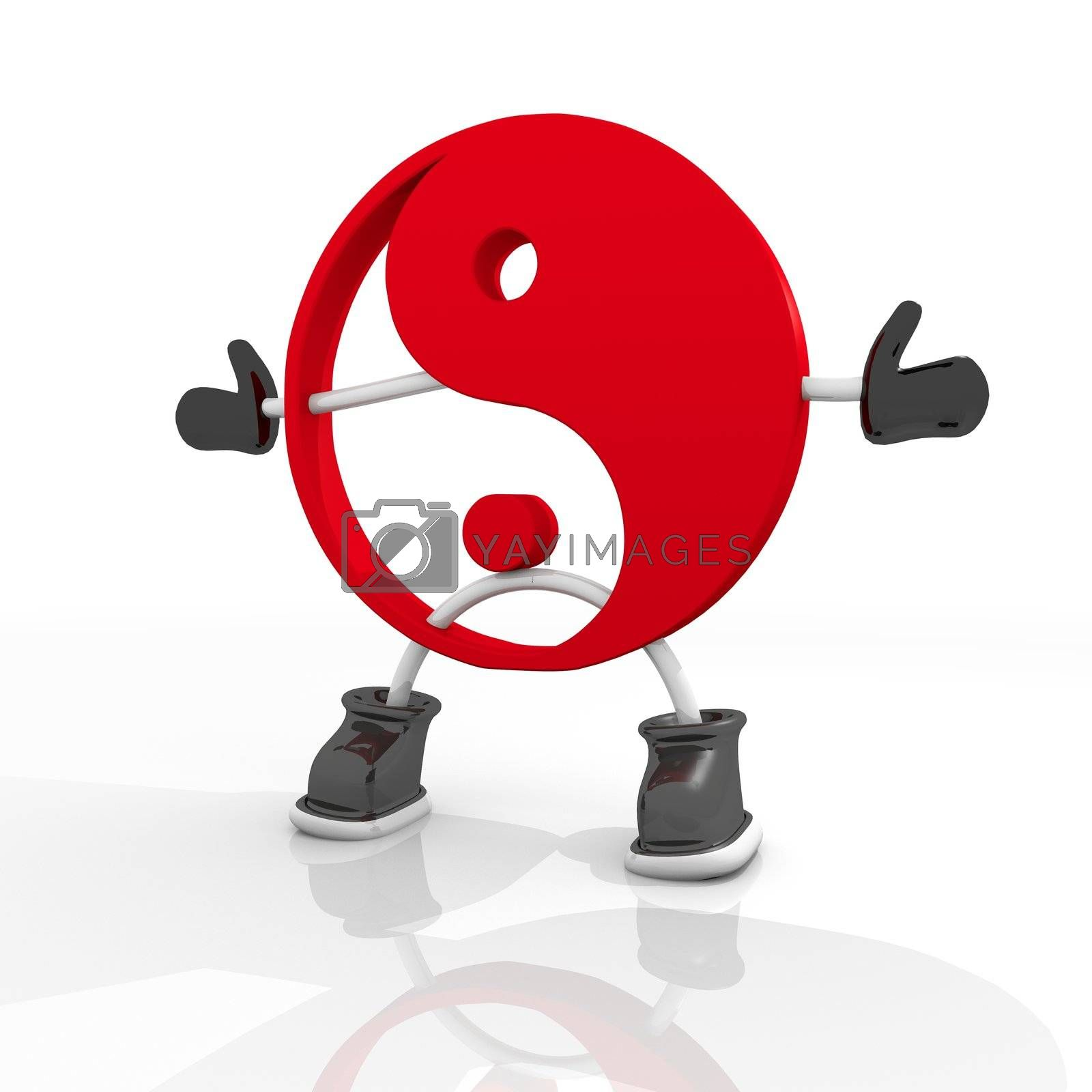 3D graphic Candy red ying yang character symbol in a white background