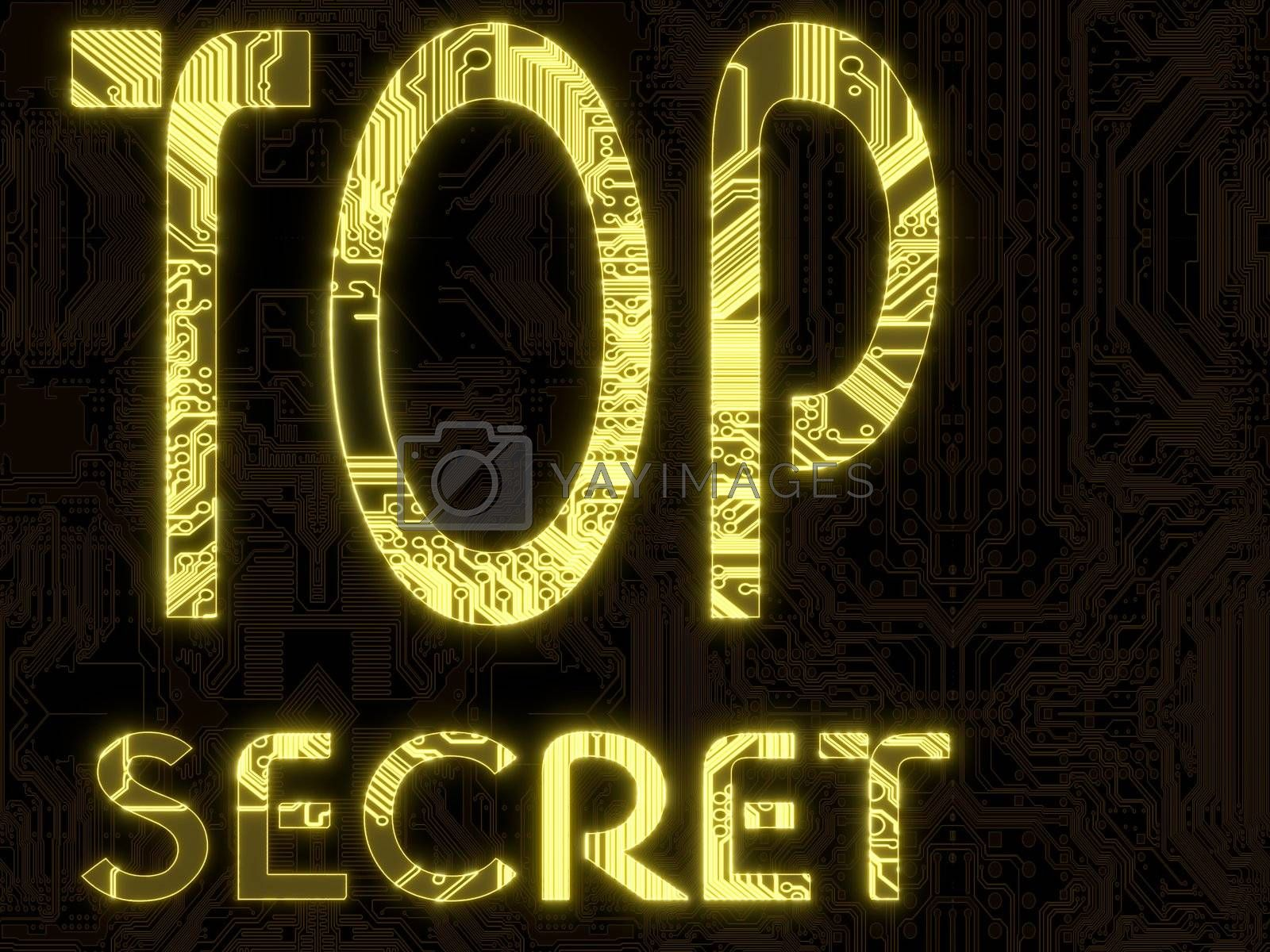 3D Graphic Yellow flare glowing top secret  symbol on a computer chip