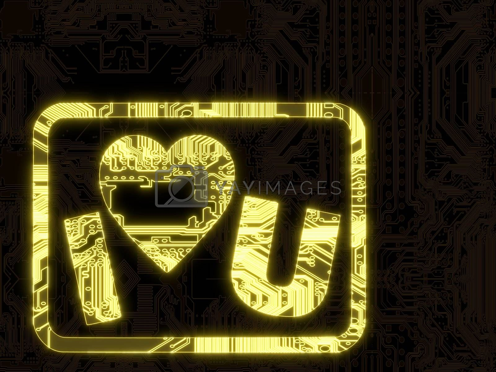 3D Graphic flare with I love you symbol on a computer chip
