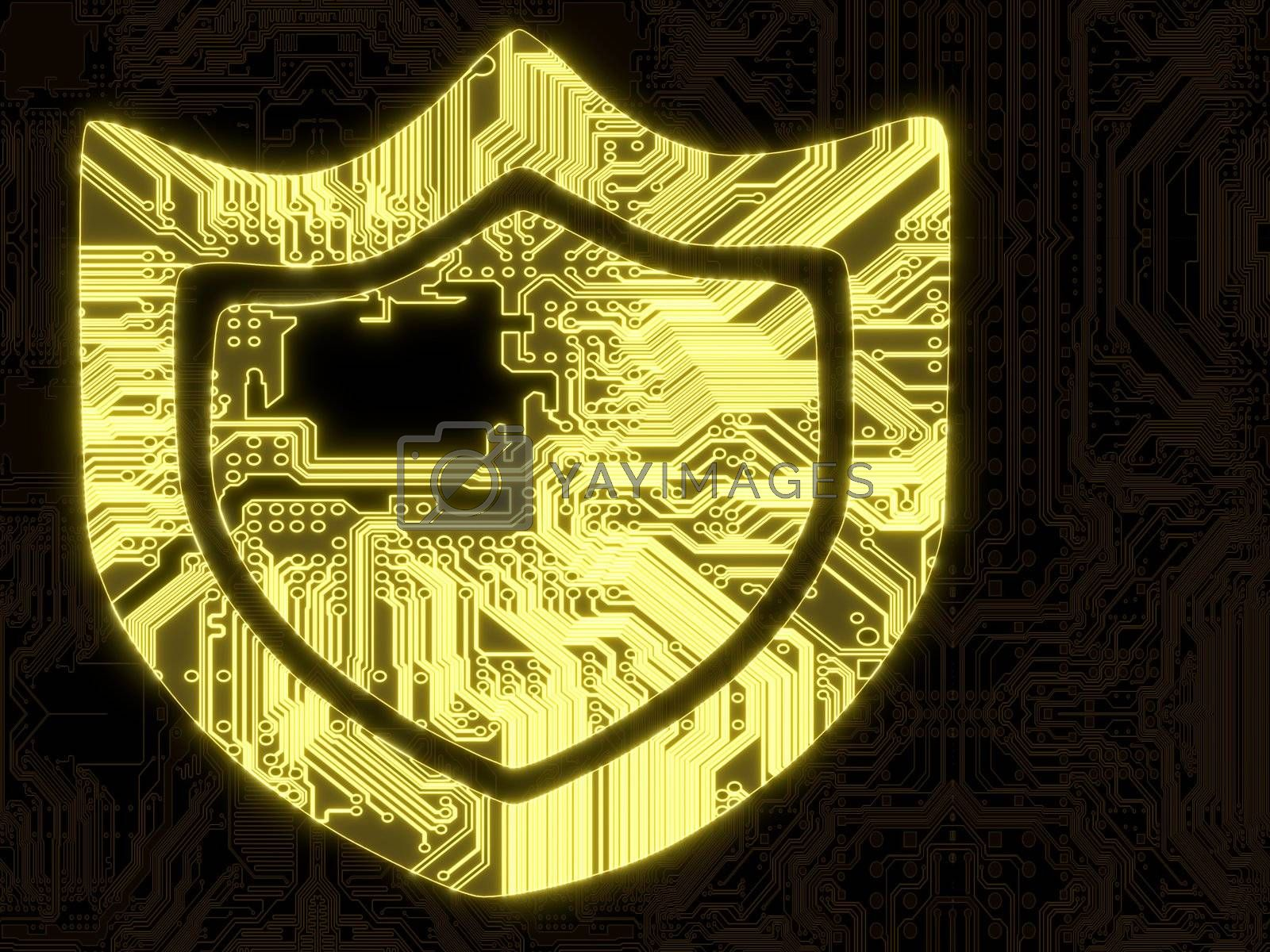 3D Graphic flare glowing protection symbol on a computer chip