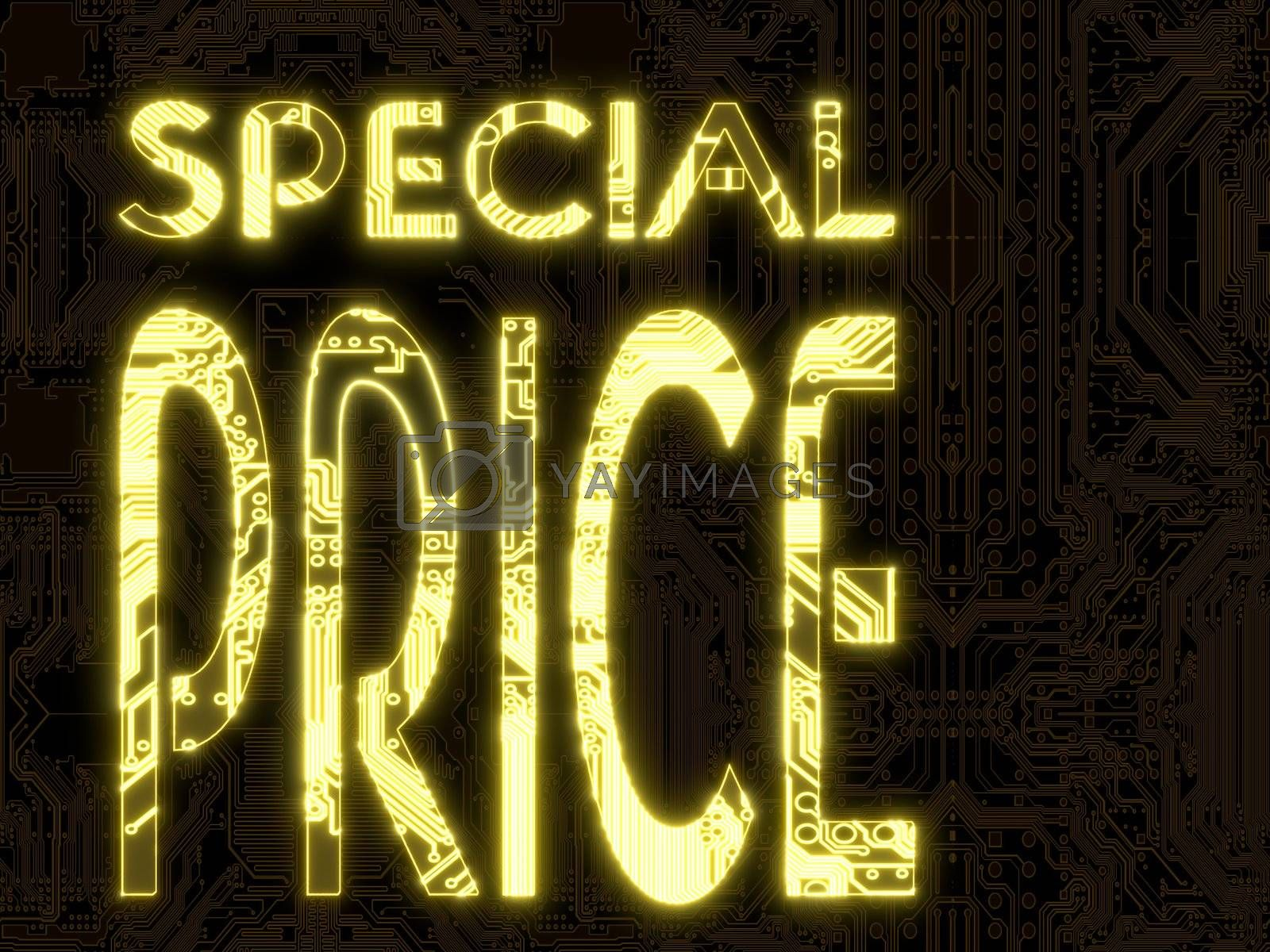 3D Graphic flare computer special price symbol in a dark background