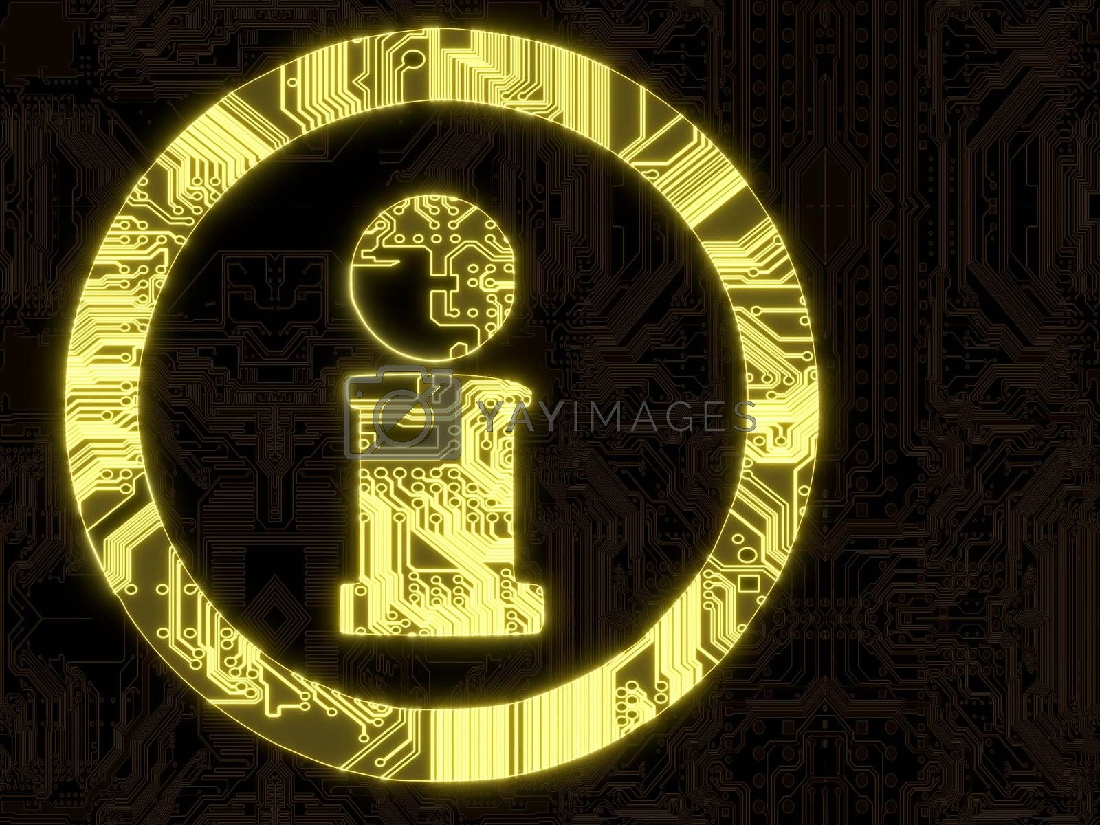 3D Graphic flare glowing information symbol in a dark background on a computer chip