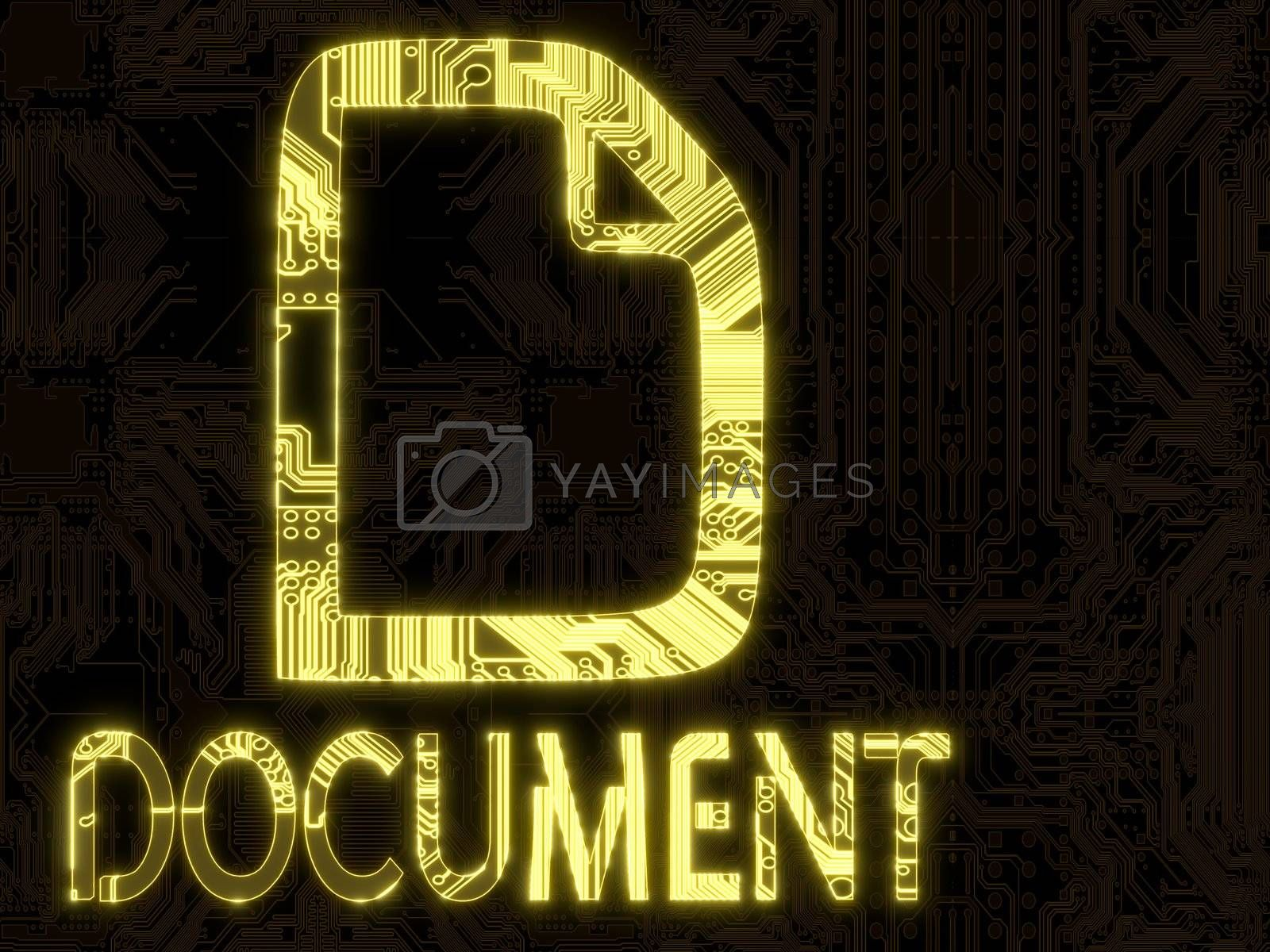 3D Graphic flare electronic document symbol on a computer chip
