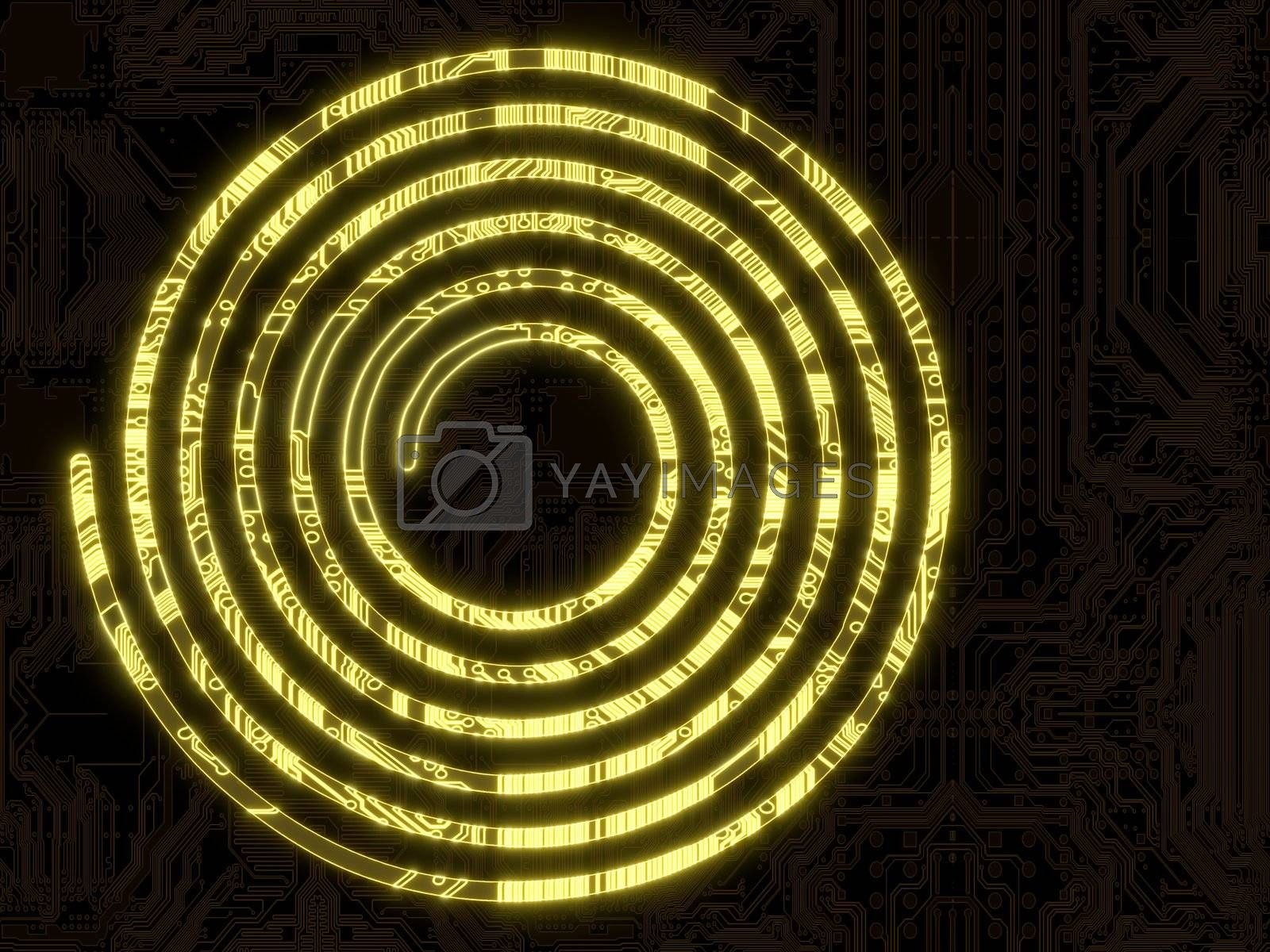 3d graphic computer chip flare with glowing helix symbol in a dark background