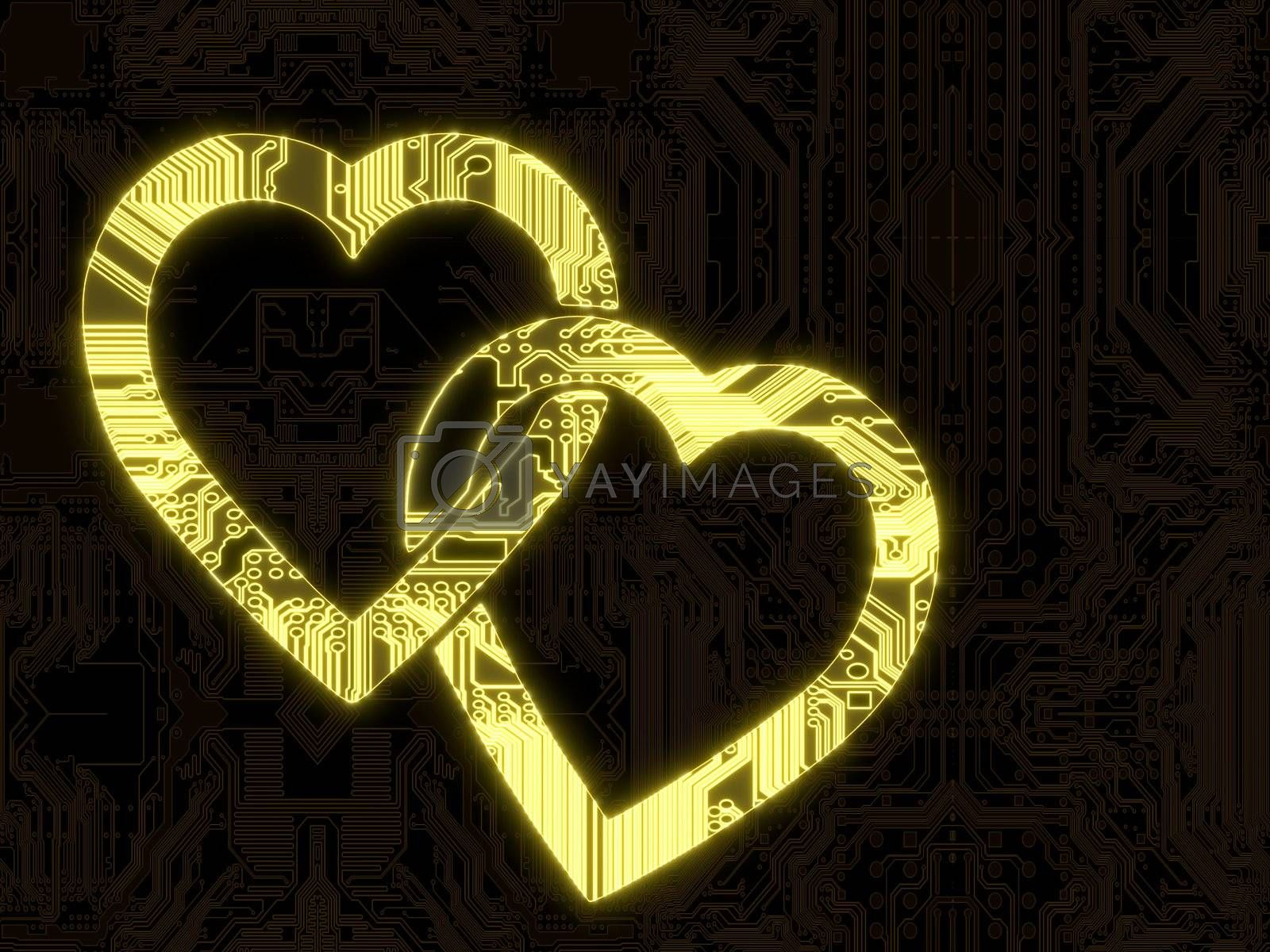 3D Graphic flare with glowing two hearts symbol in a dark background