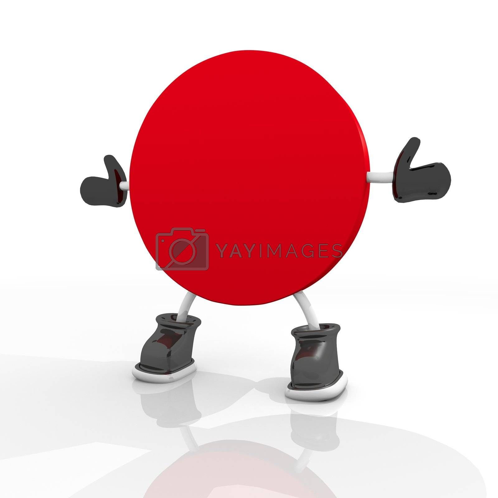 3D graphic  Candy red circle symbol 3d character isolated on white background
