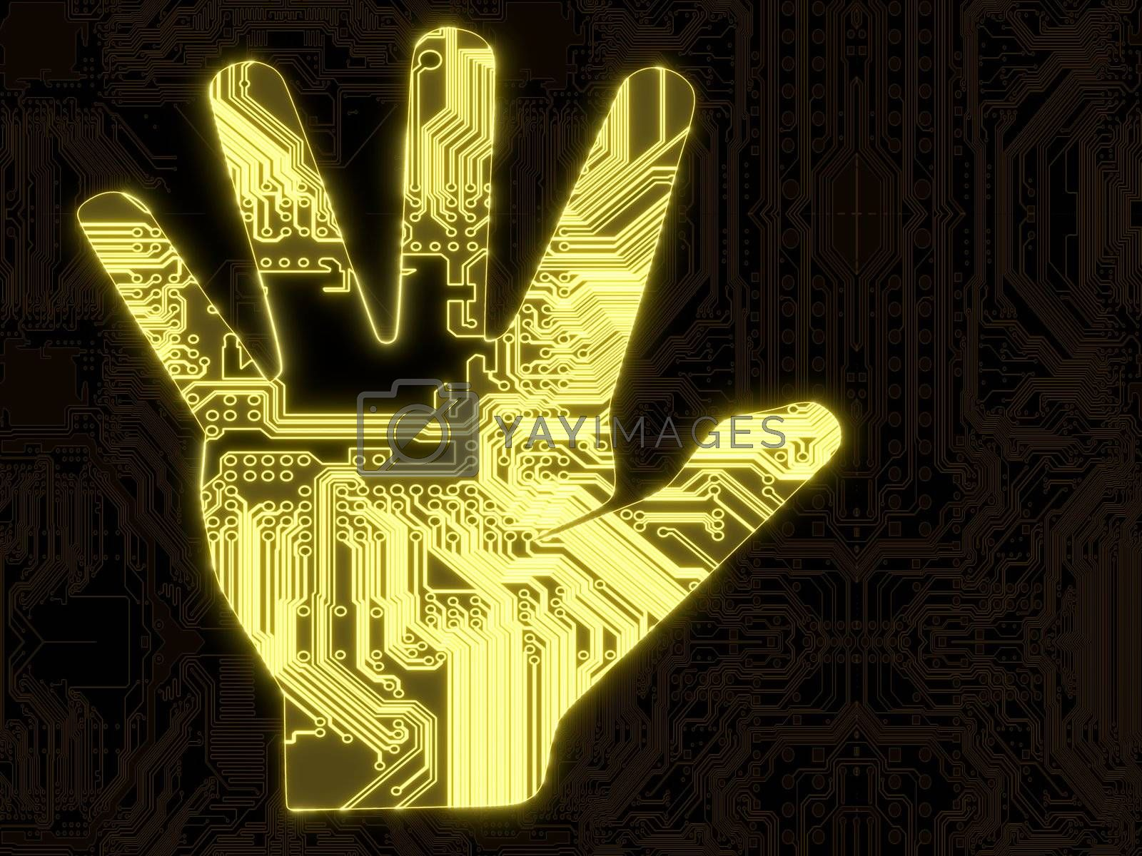 3D Graphic flare attention hand symbol in a dark background on a computer chip