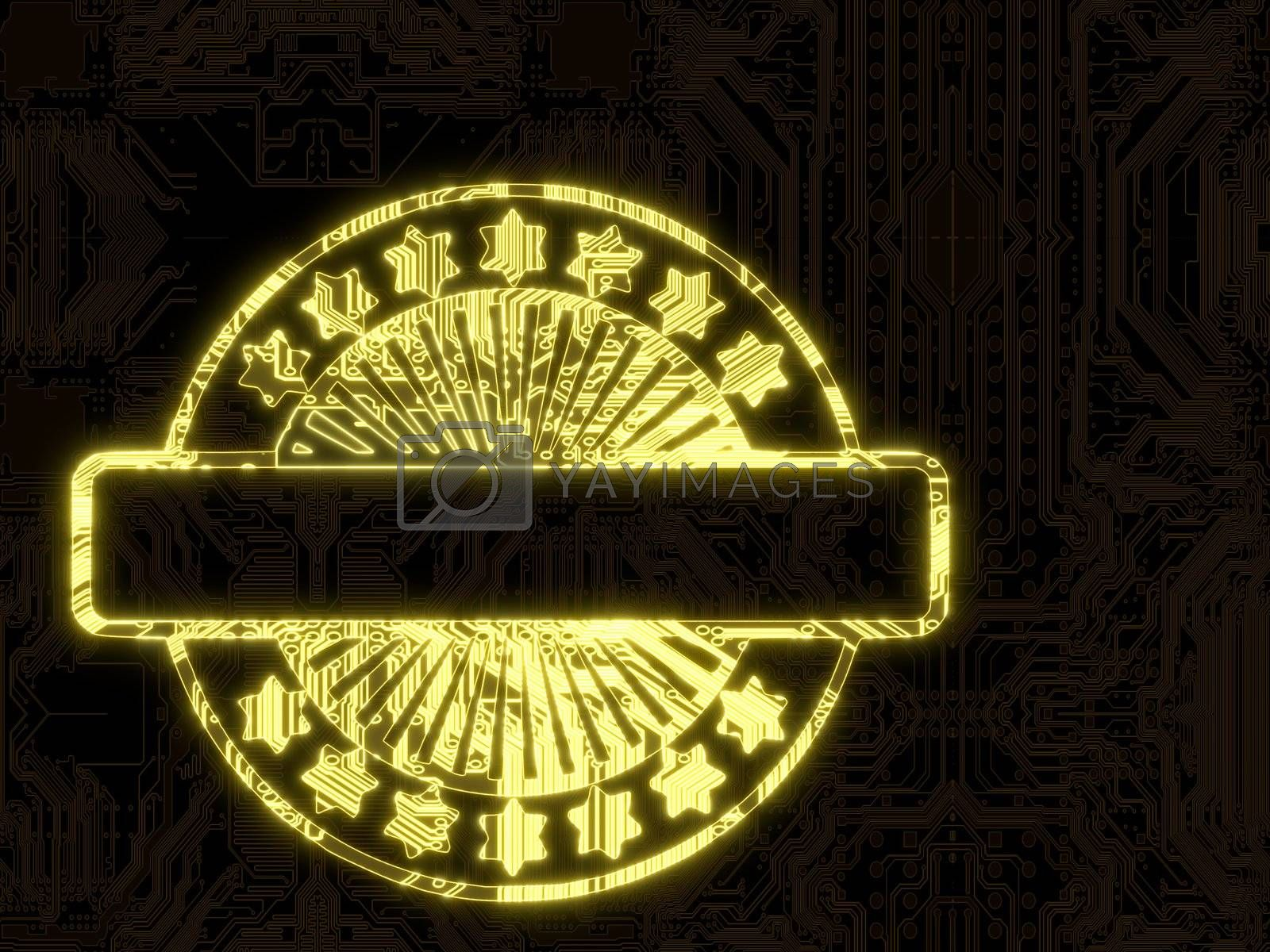 3d graphic flare with glowing label symbol in a dark background on a computer chip
