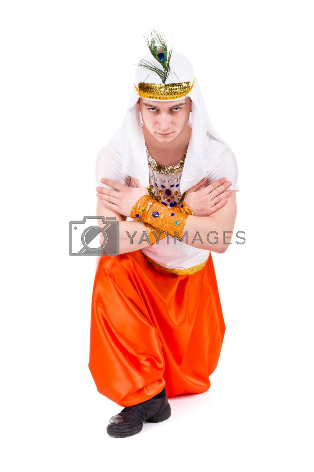 Dancing pharaoh wearing a egyptian costume. Isolated on white background in full length.