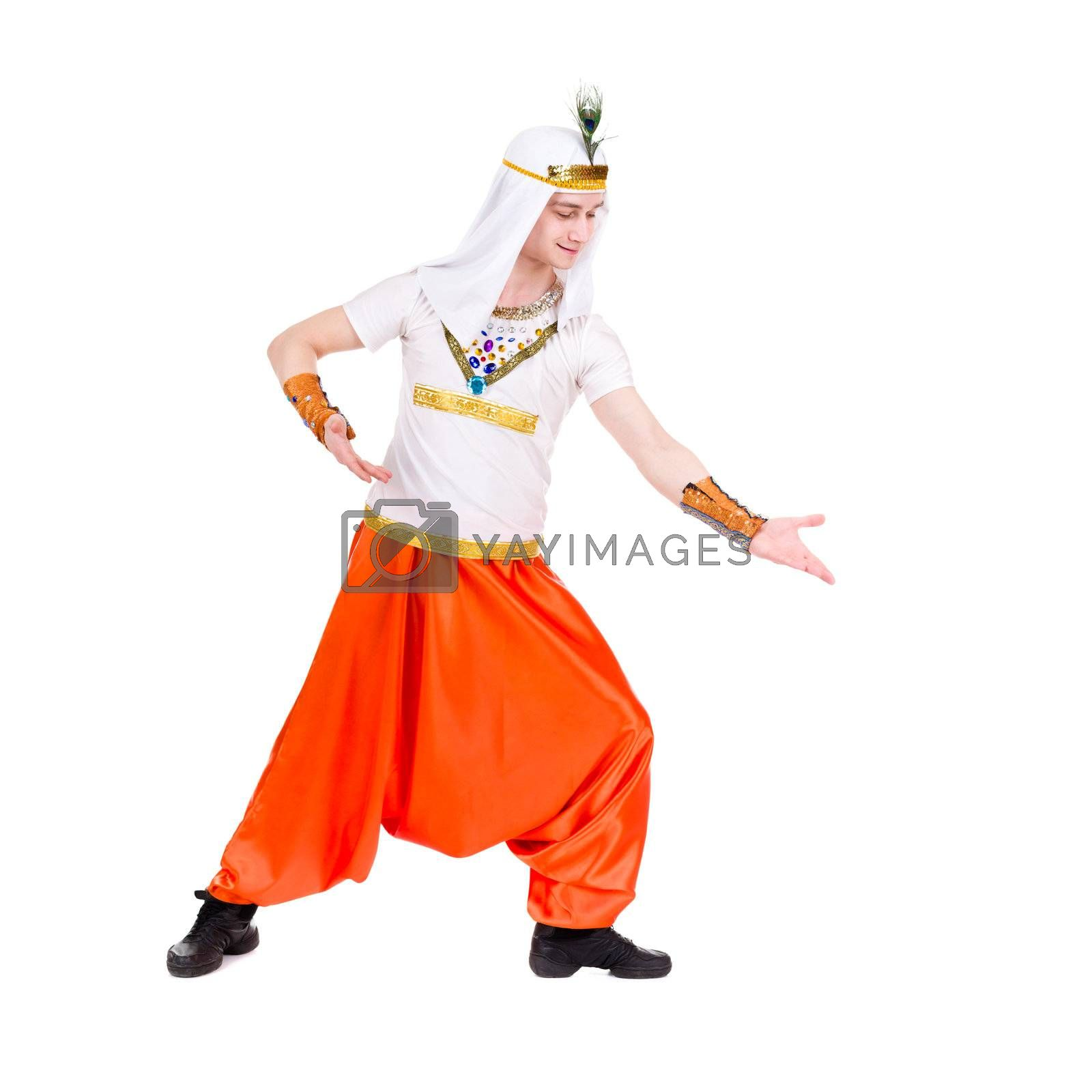 Pointing pharaoh wearing a egyptian costume. Isolated on white background in full length.
