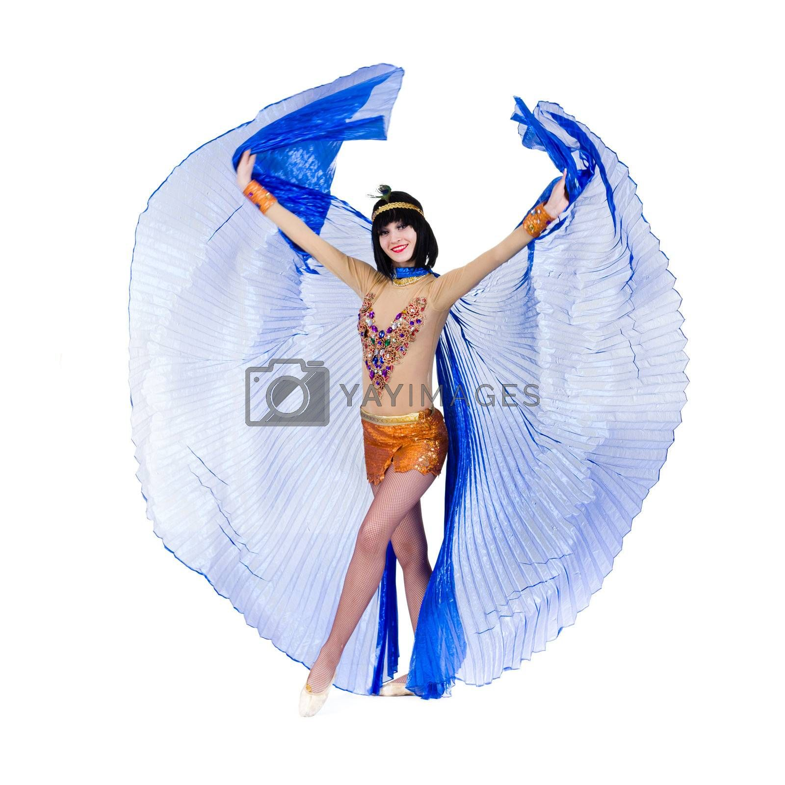 Dancing pharaoh woman wearing a egyptian costume. Isolated on white background in full length.