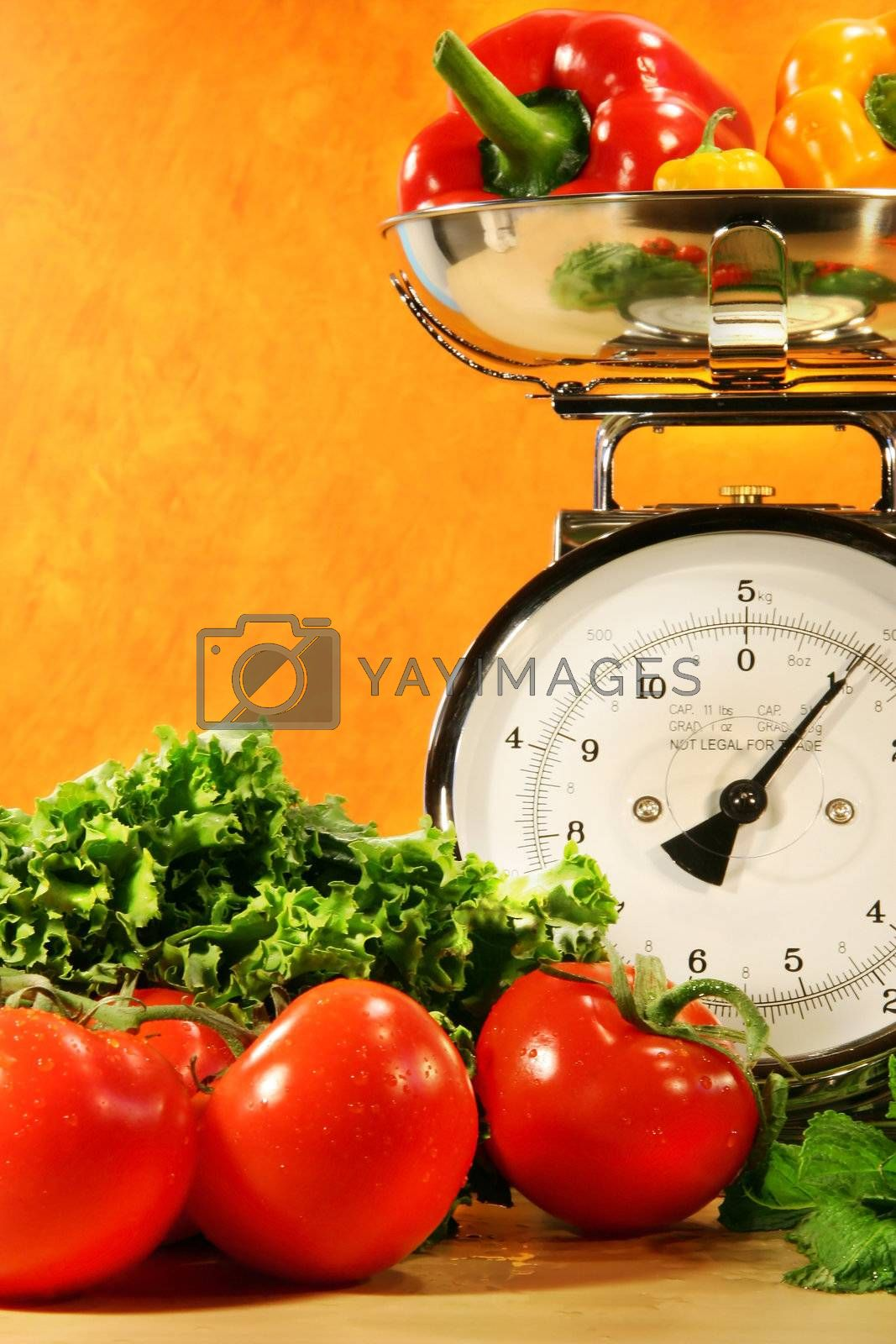 Vegetables on the counter surface with food scale