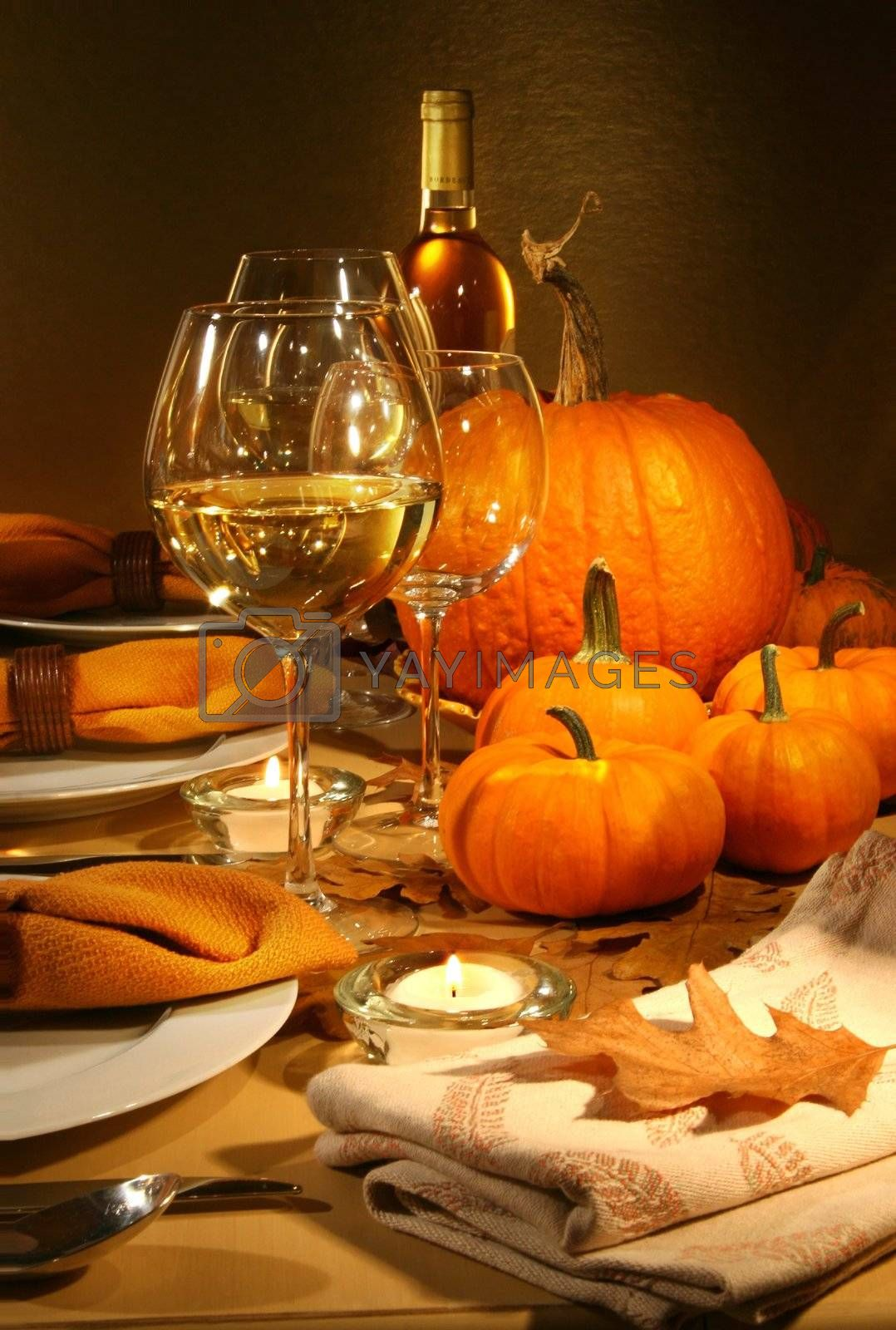 Dinner settings with wine for Thanksgiving
