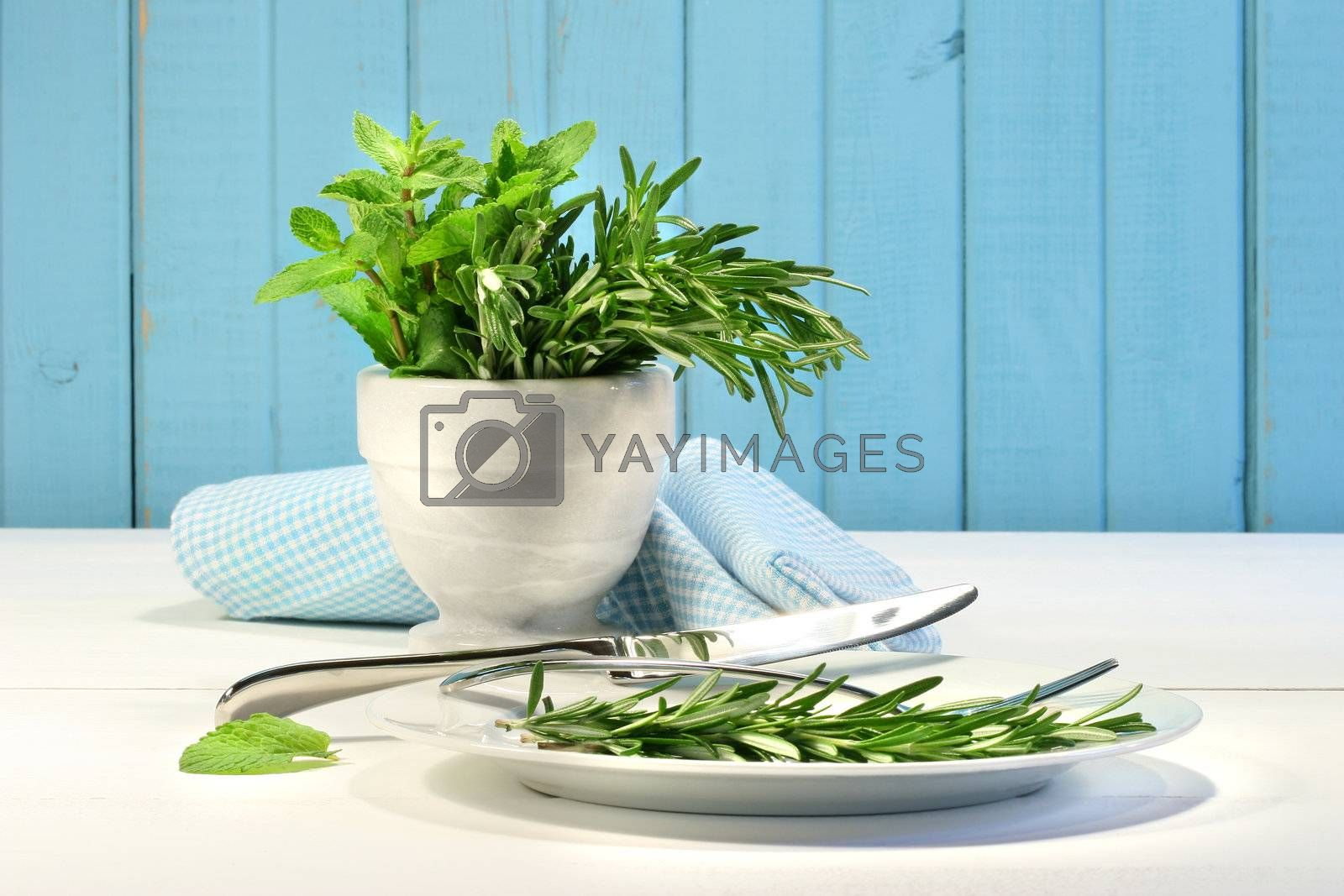 Fresh herbs on the table with plate and utensils