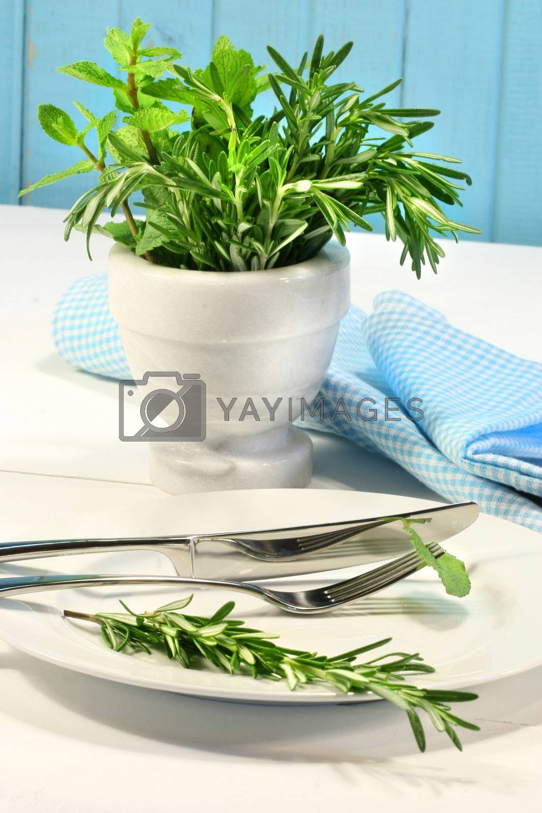 Fresh green herbs on a table in the kitchen