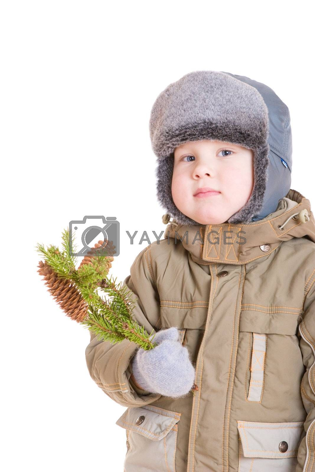 a pensive boy dressed for winter with a branch of fur tree with two cones