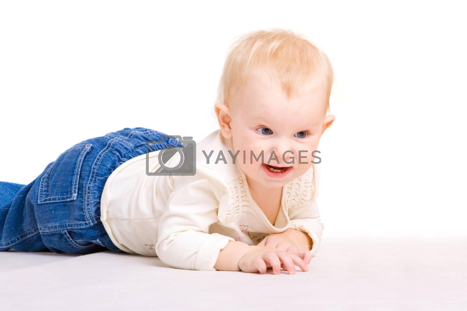 Child creeps on a floor
