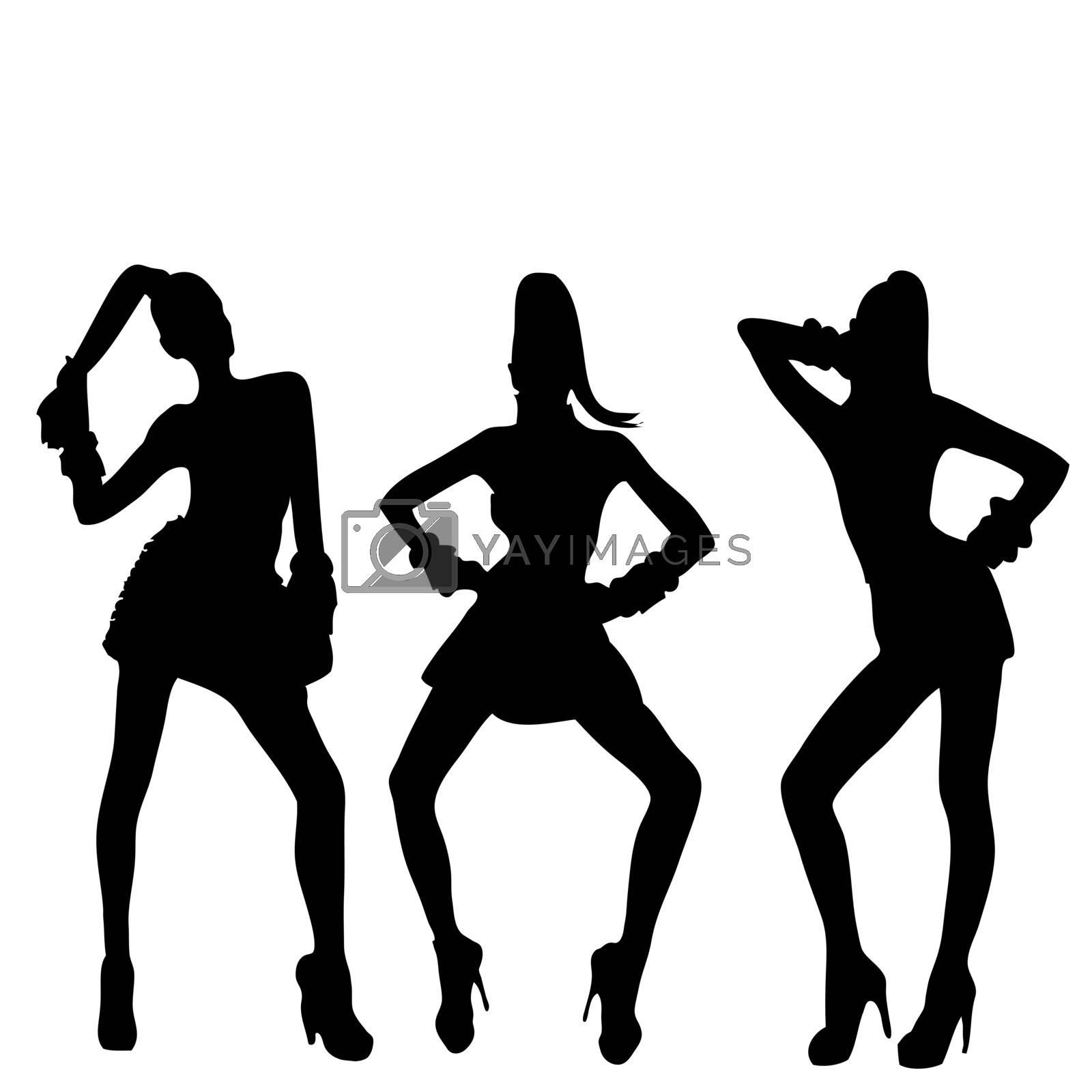 3 women silhouettes with fashion attitudes