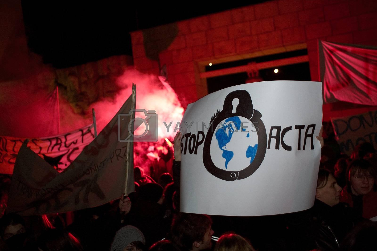 2012.01.25 Gorzow Wielkopolski. Anti ACTA ( Anti-Counterfeiting Trade Agreement ) manifestation.