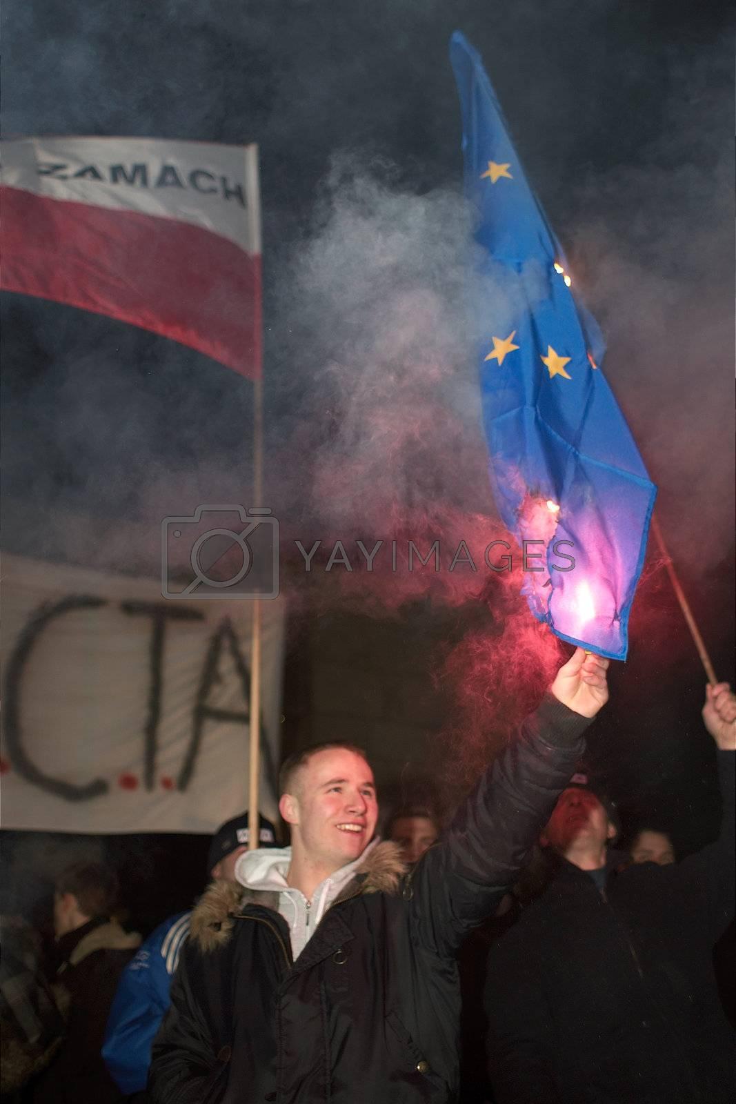 2012.01.25 Gorzow Wielkopolski. Anti ACTA ( Anti-Counterfeiting Trade Agreement ) manifestation. 2012.01.25 Gorzow Wielkopolski. Anti ACTA ( Anti-Counterfeiting Trade Agreement ) manifestation. EU Flag Burning.