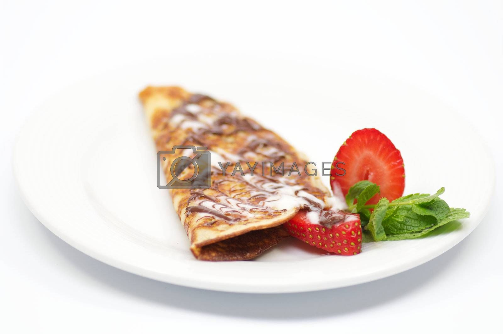 Pancakes with strawberry and glaze