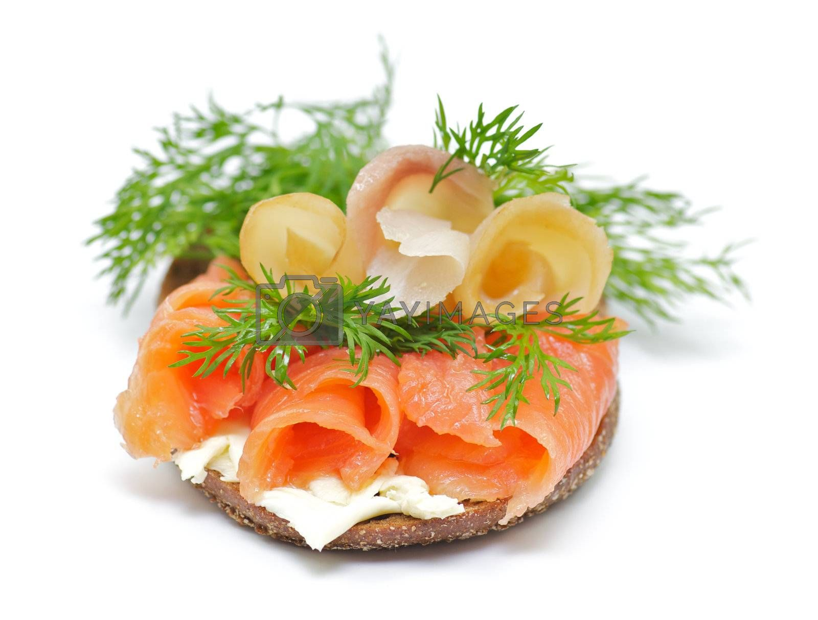 Sandwich with Smoked Salmon and Sturgeon, Cheese Crème and Dill