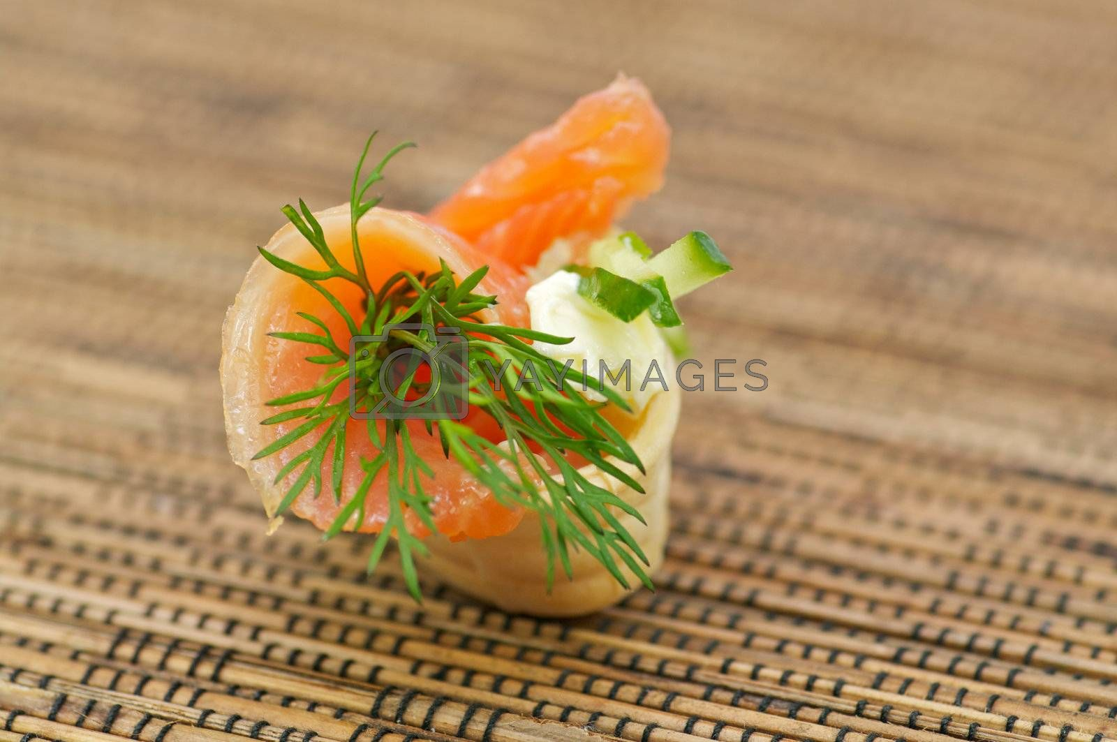 Snack with Smoked Salmon, Cheese Cream and Dill