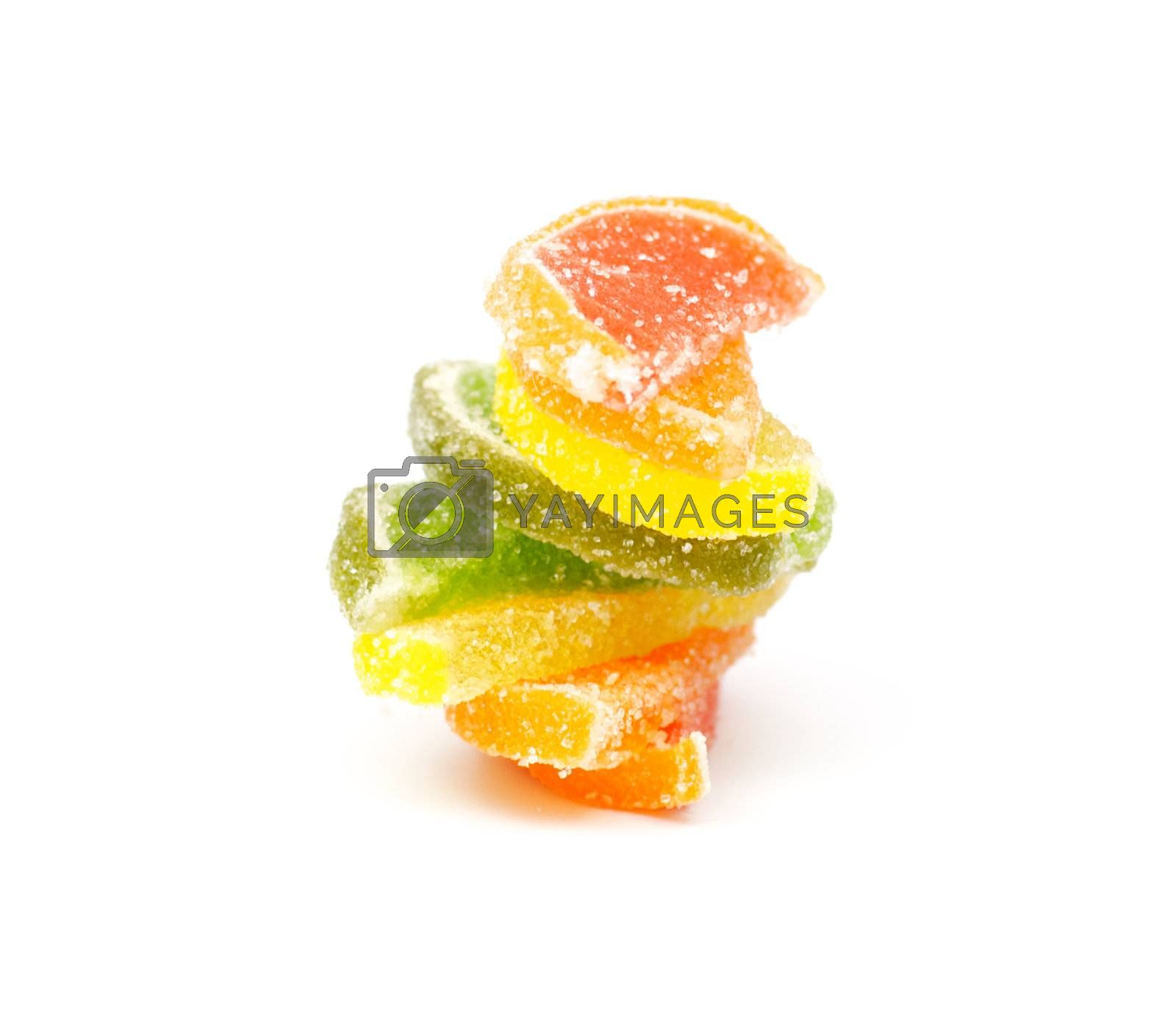 Multi colored fruit jelly candy on white background