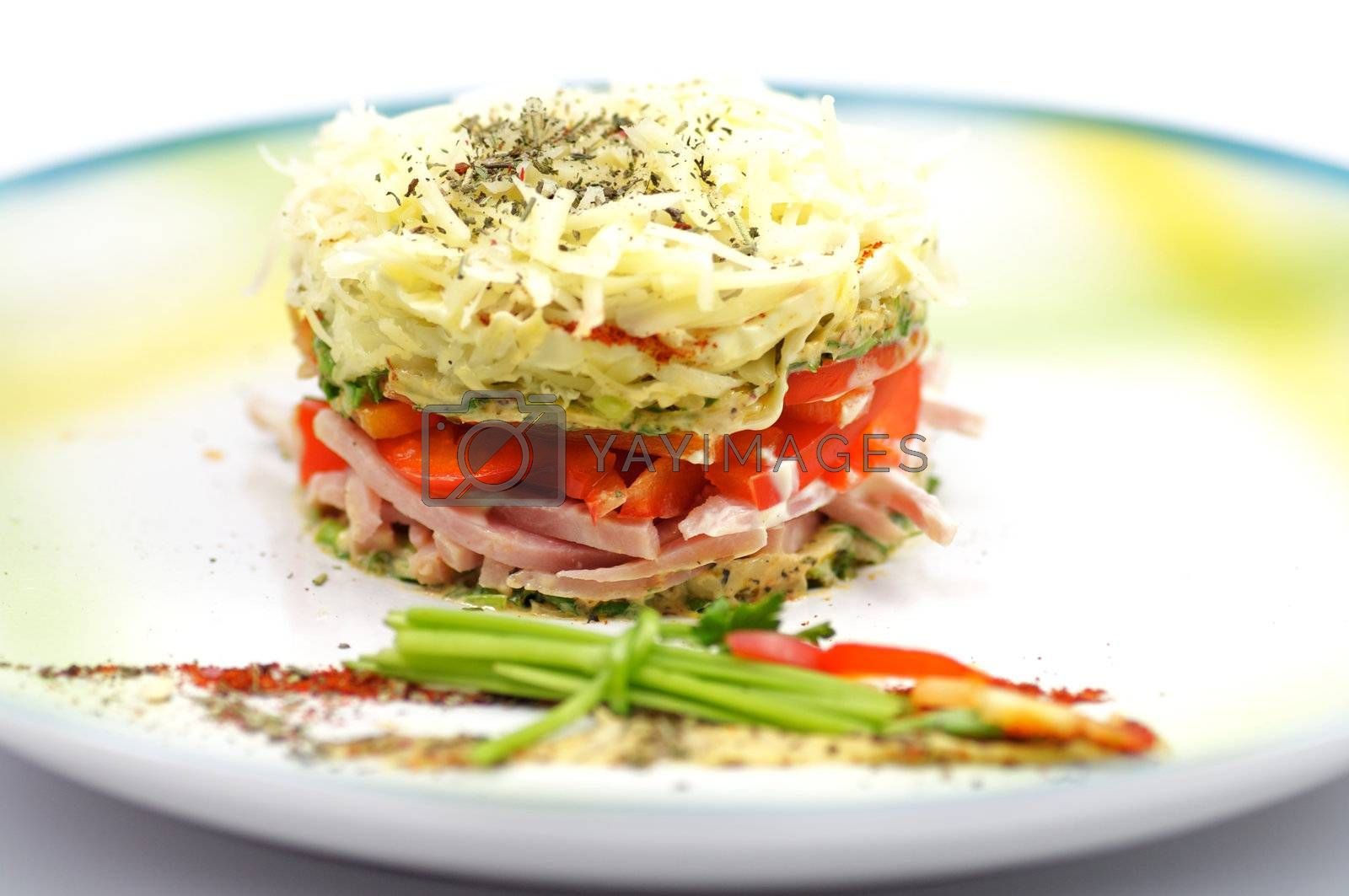 Cheese salad with red bell pepper, greens, bacon and spices