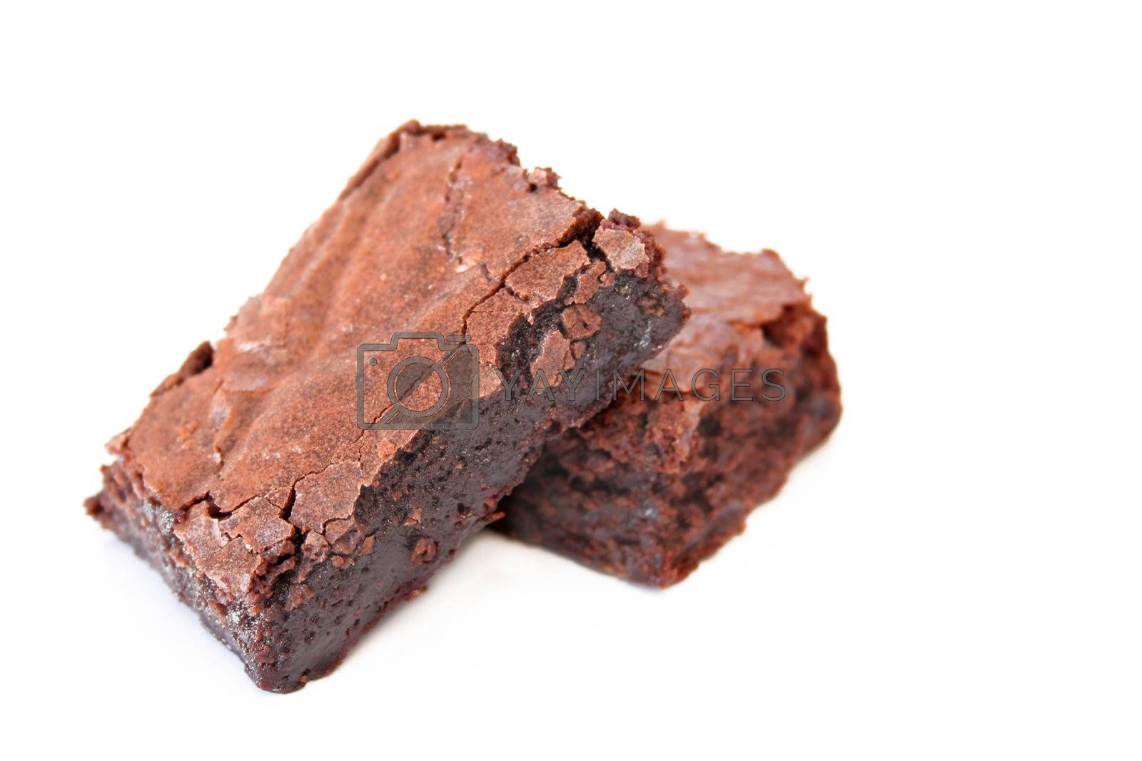 Fresh baked brownies with a selective focus and shallow depth of field. Copy space is available.