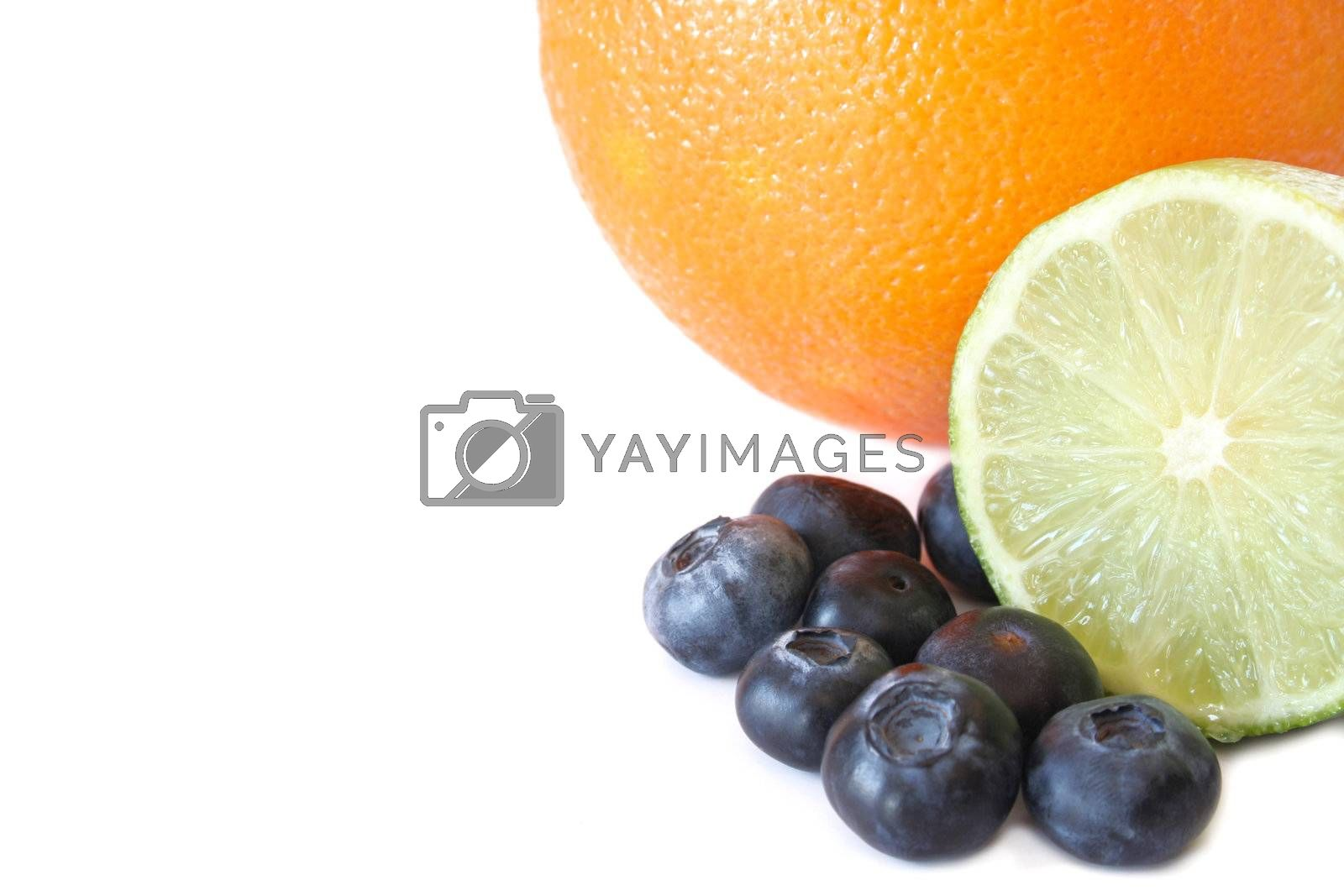 Variaty of fruit isolated on a white background and room for copy space. Used selective focus and a shallow depth of field.
