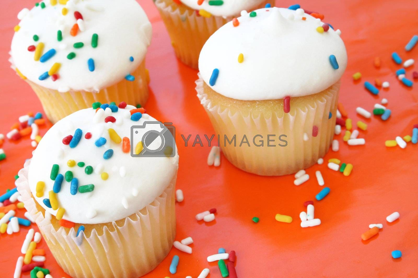 Cupcakes with sprinkles on an orange background.