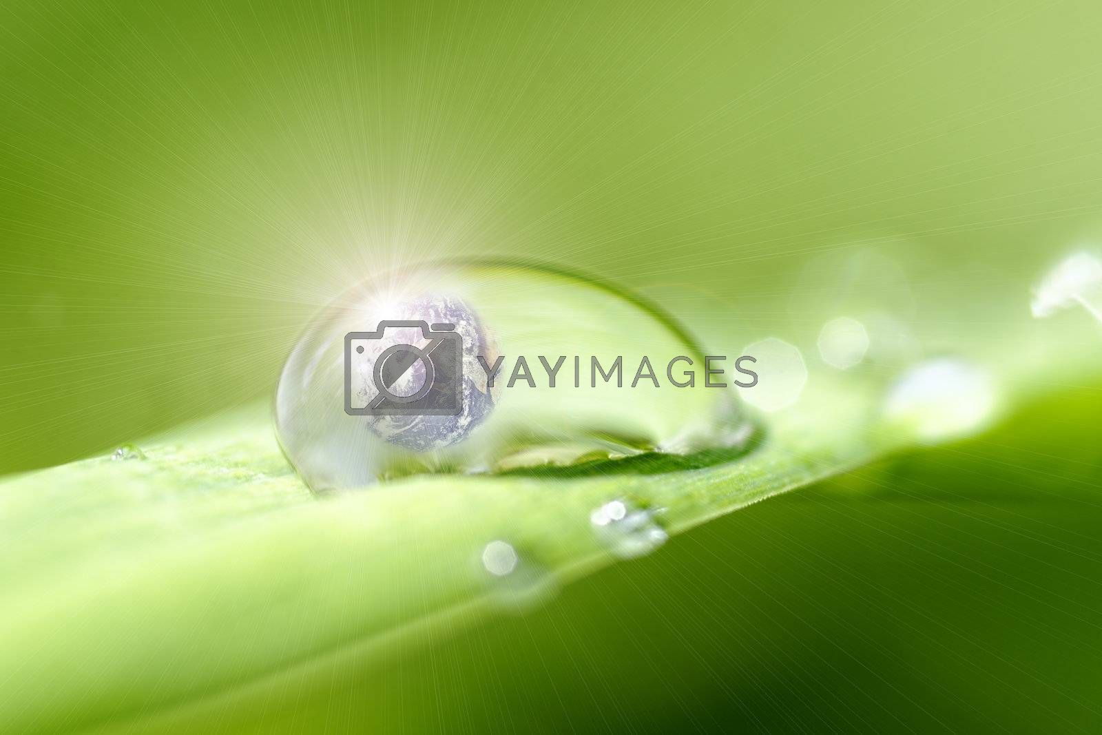 Planet earth inside a drop of dew and sunlight effect
