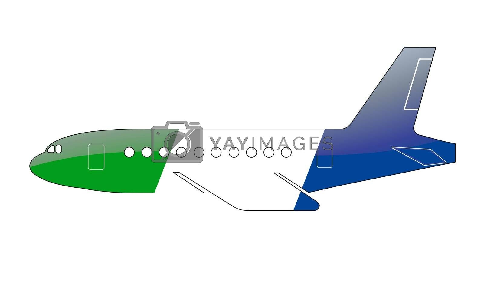 The Sierra Leone flag painted on the silhouette of a aircraft. glossy illustration