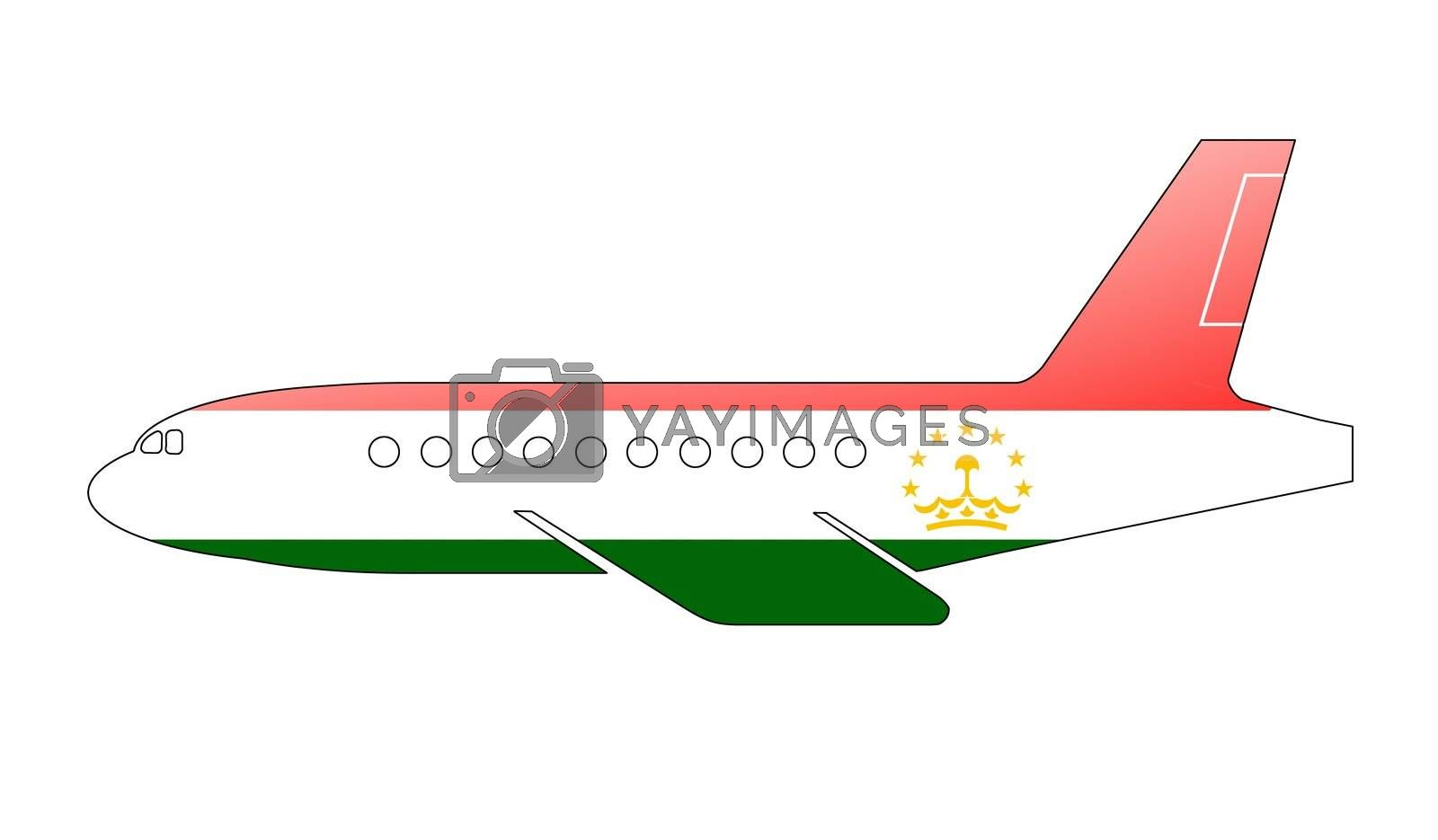 The Tajik flag painted on the silhouette of a aircraft. glossy illustration