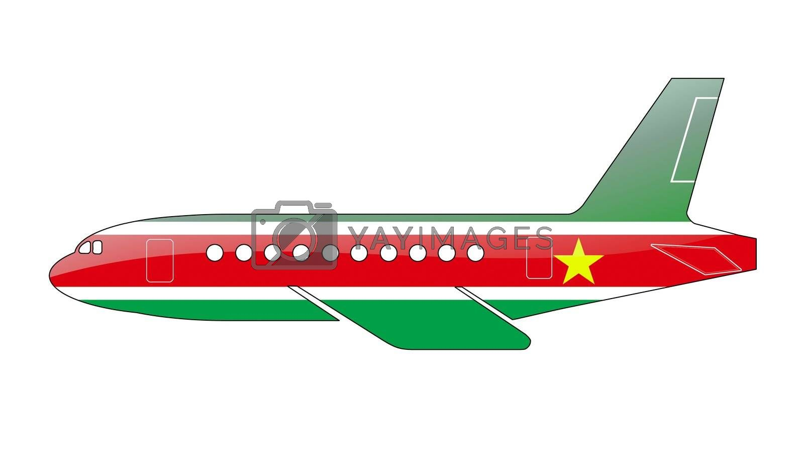 The Surinam flag painted on the silhouette of a aircraft. glossy illustration
