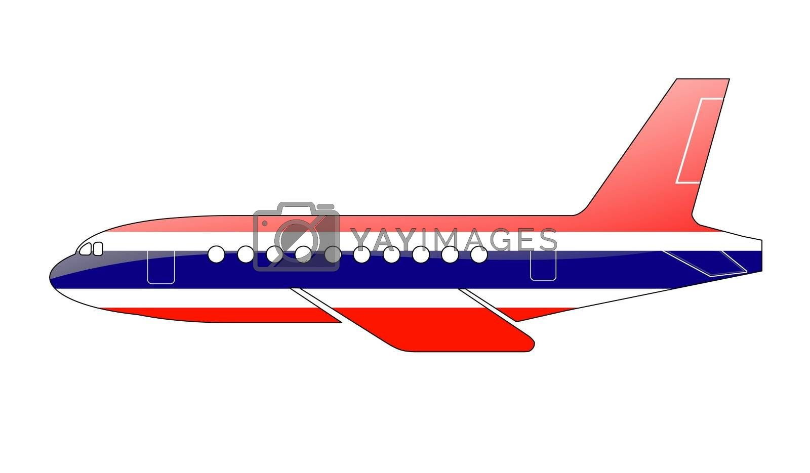 The Thai flag painted on the silhouette of a aircraft. glossy illustration