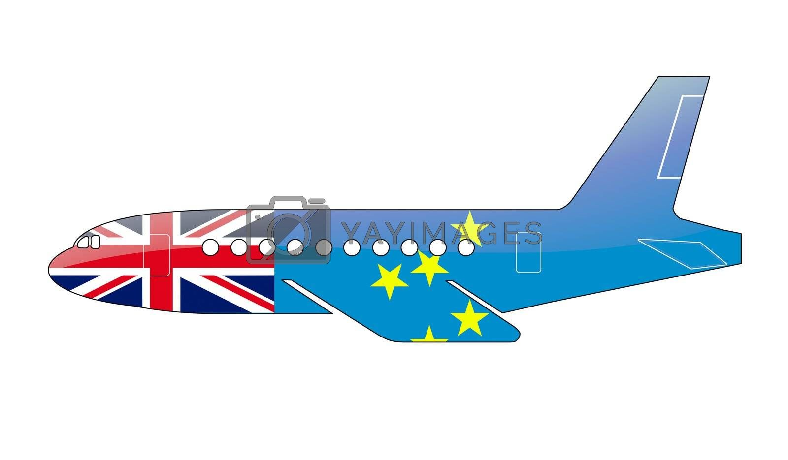 The Tuvalu flag painted on the silhouette of a aircraft. glossy illustration