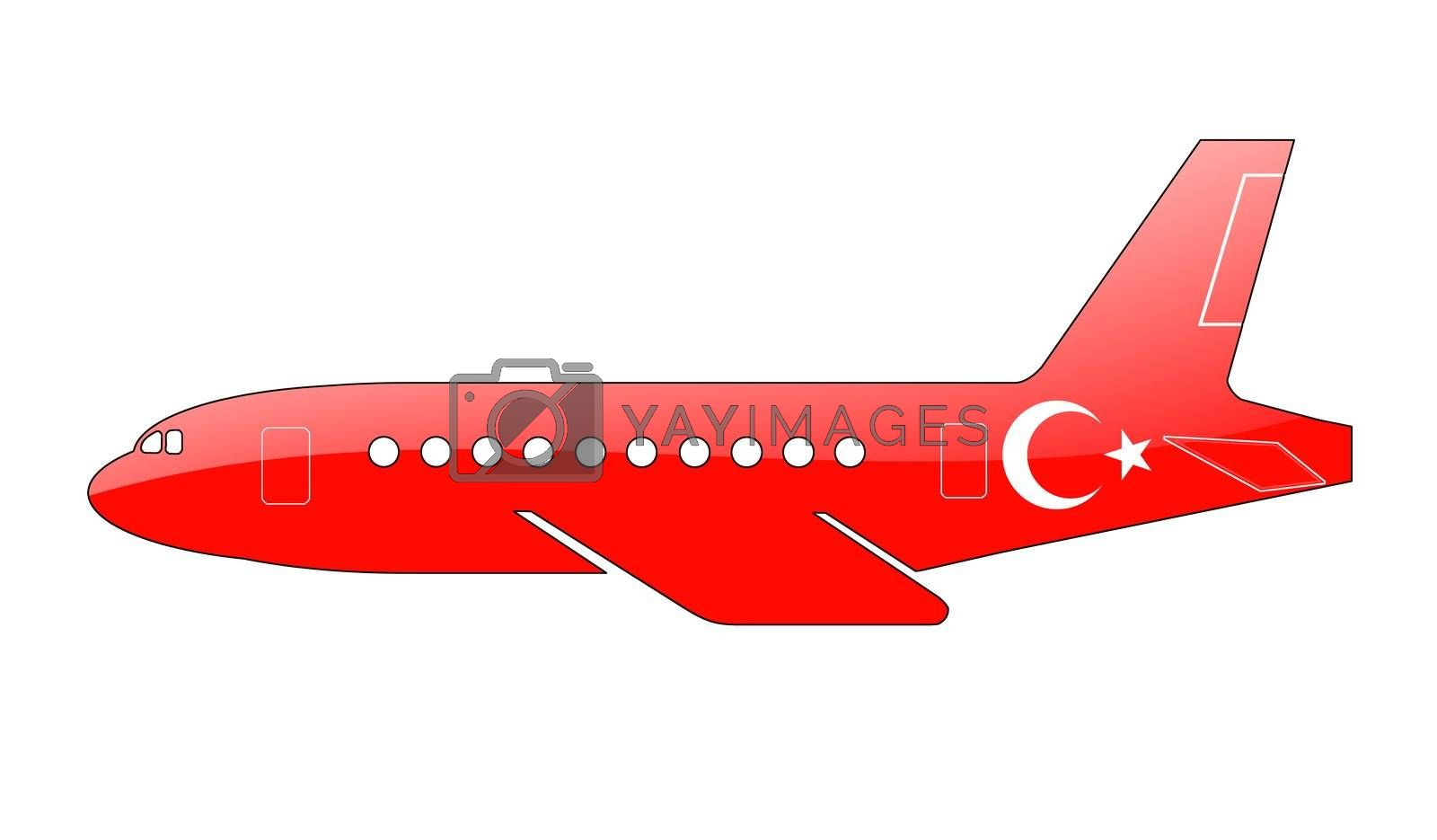 The Turkish flag painted on the silhouette of a aircraft. glossy illustration