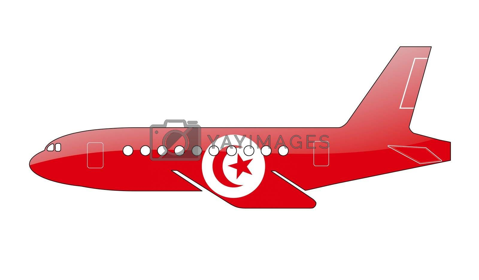 The Tunis flag painted on the silhouette of a aircraft. glossy illustration