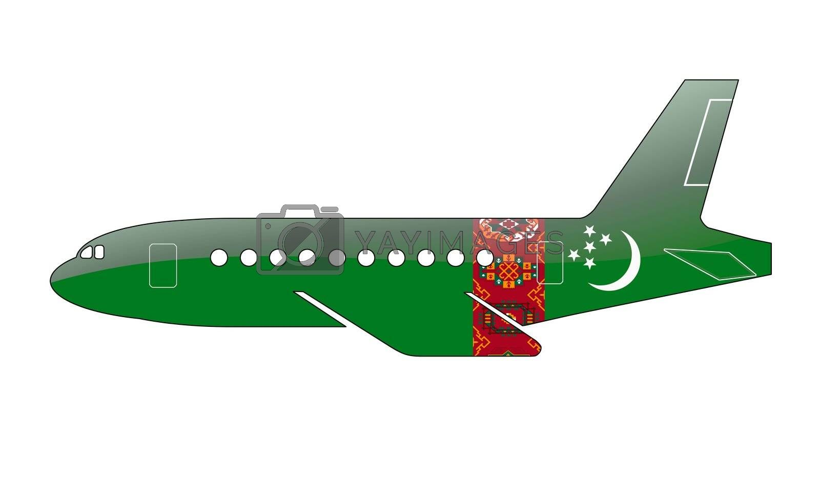 The Turkmen flag painted on the silhouette of a aircraft. glossy illustration
