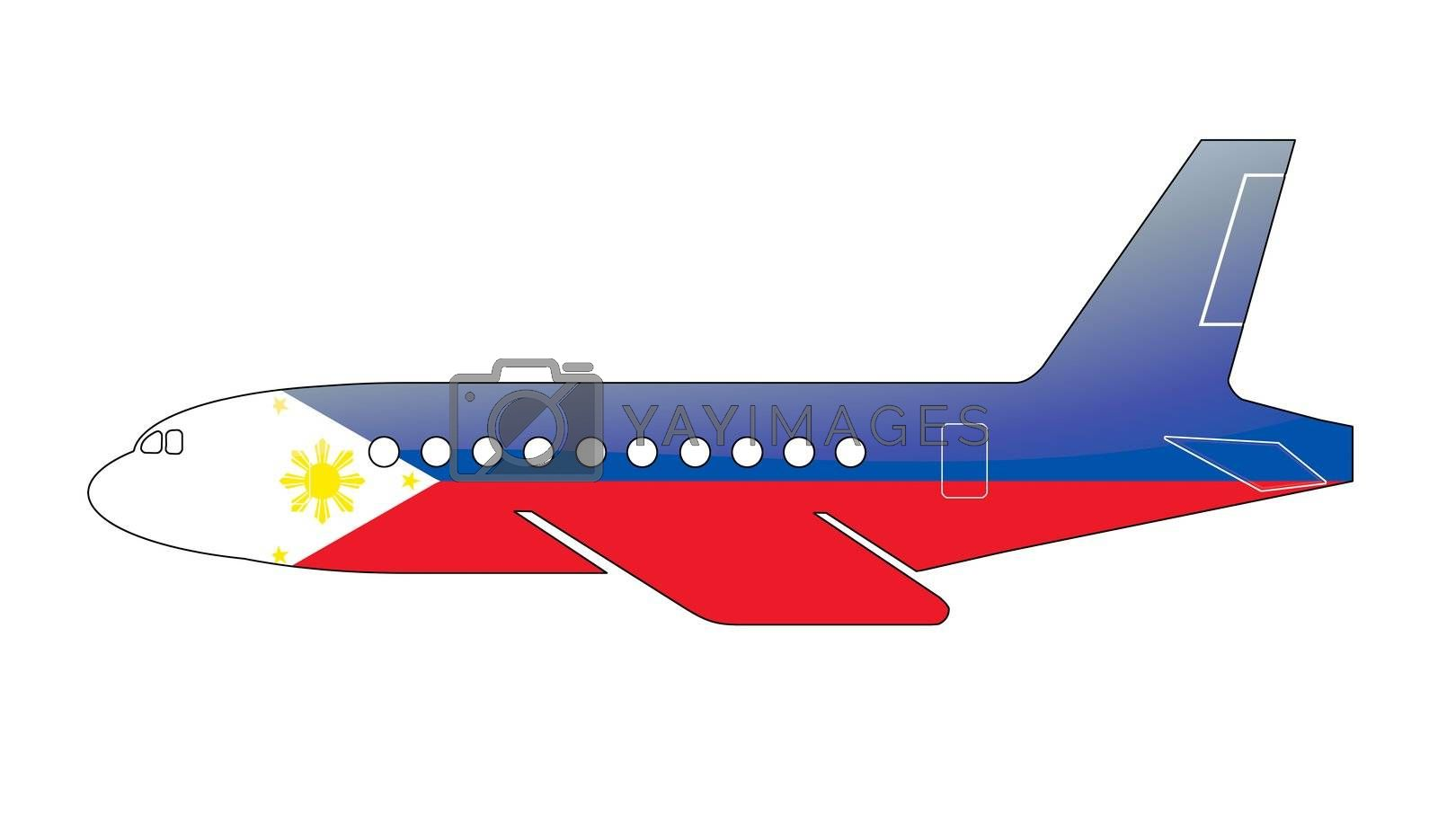 The Philippines flag painted on the silhouette of a aircraft. glossy illustration