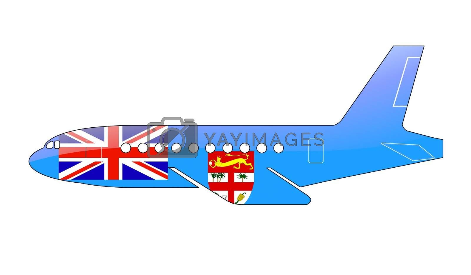 The Fiji flag painted on the silhouette of a aircraft. glossy illustration