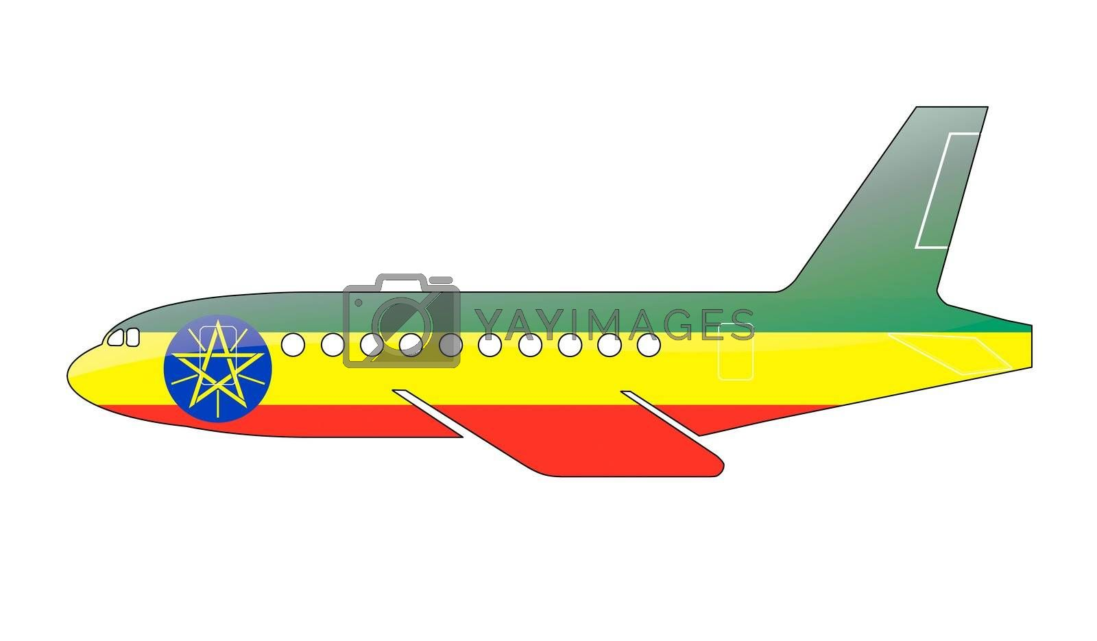The Ethiopia flag painted on the silhouette of a aircraft. glossy illustration