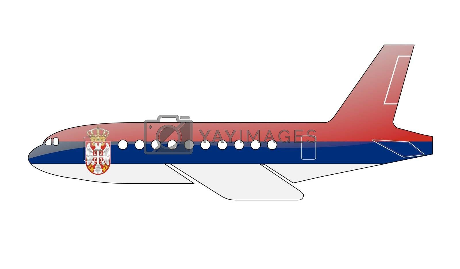 The Serbian flag painted on the silhouette of a aircraft. glossy illustration