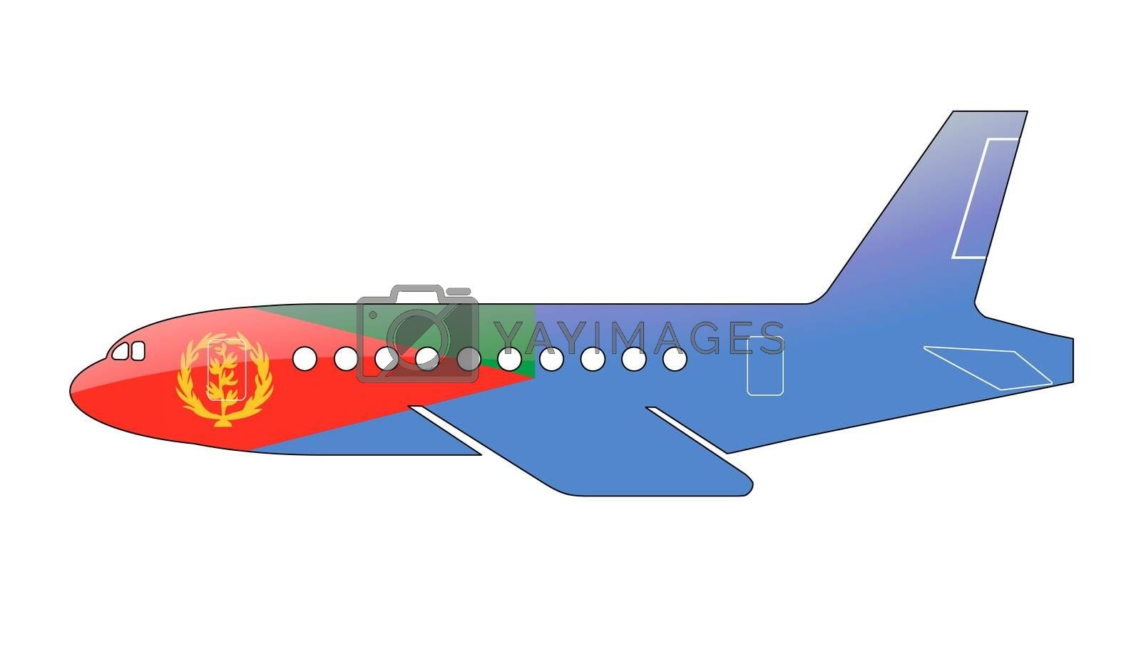 The Eritrea flag painted on the silhouette of a aircraft. glossy illustration
