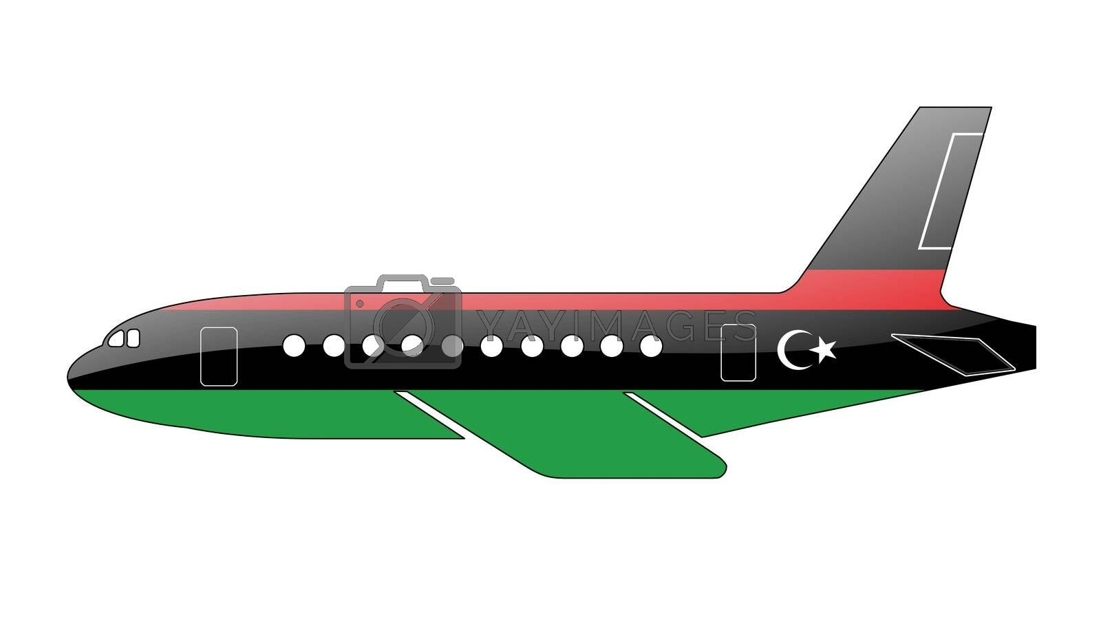 The Libyan flag painted on the silhouette of a aircraft. glossy illustration